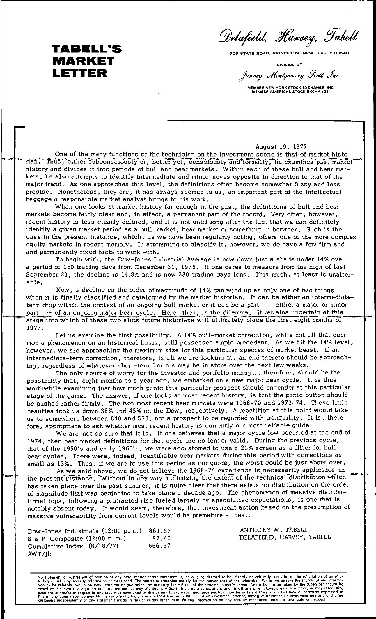 Tabell's Market Letter - August 19, 1977