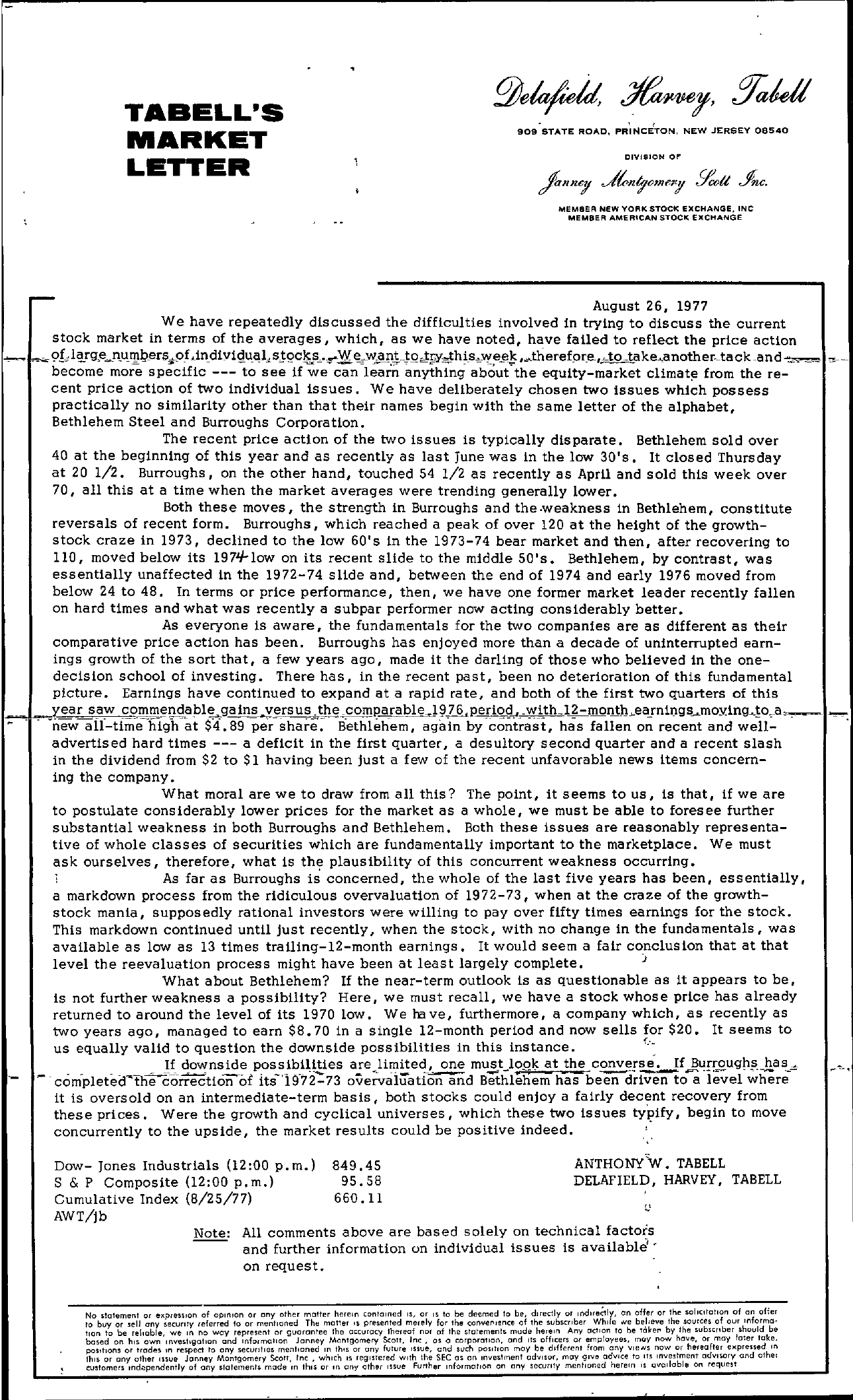 Tabell's Market Letter - August 26, 1977