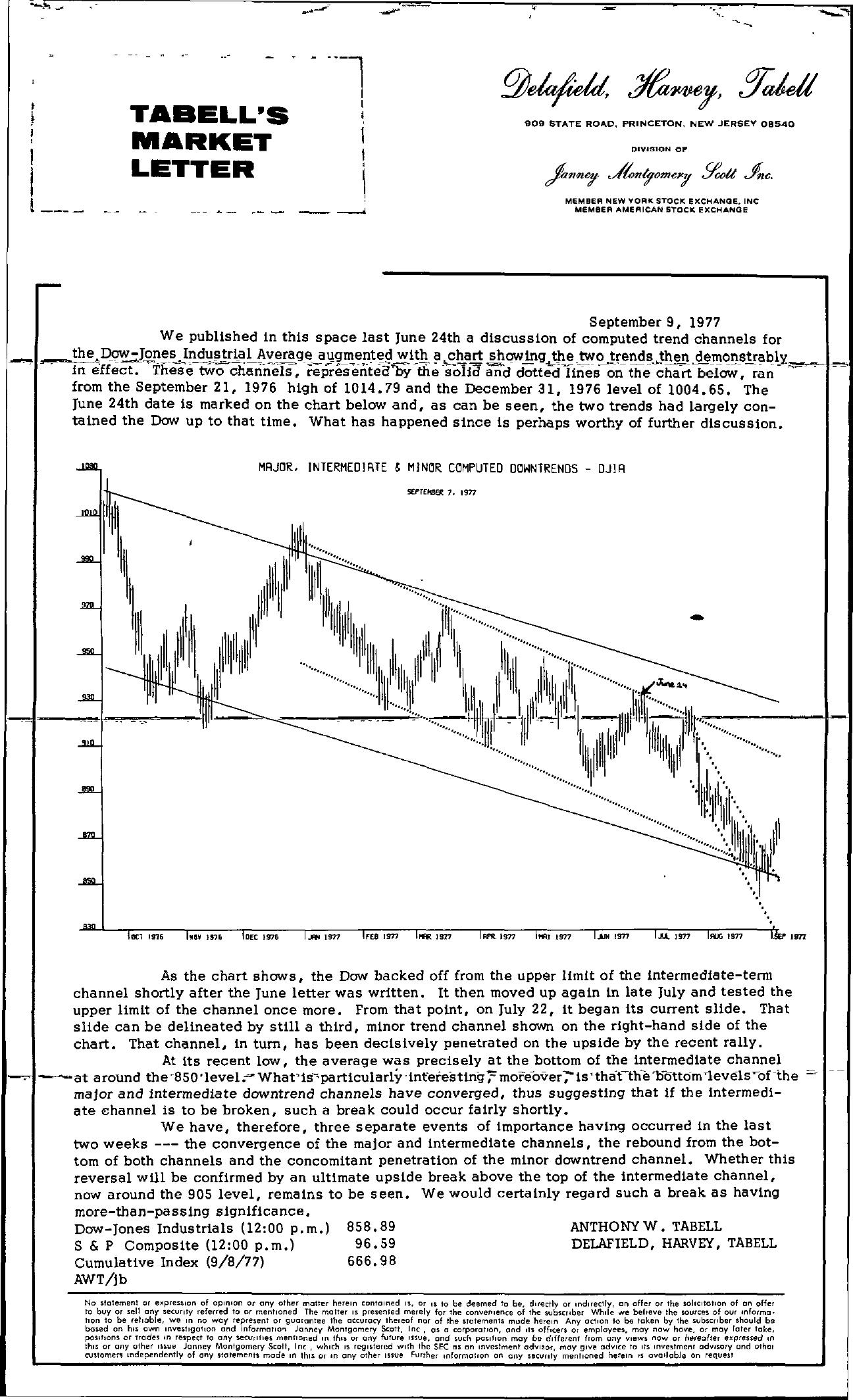 Tabell's Market Letter - September 09, 1977
