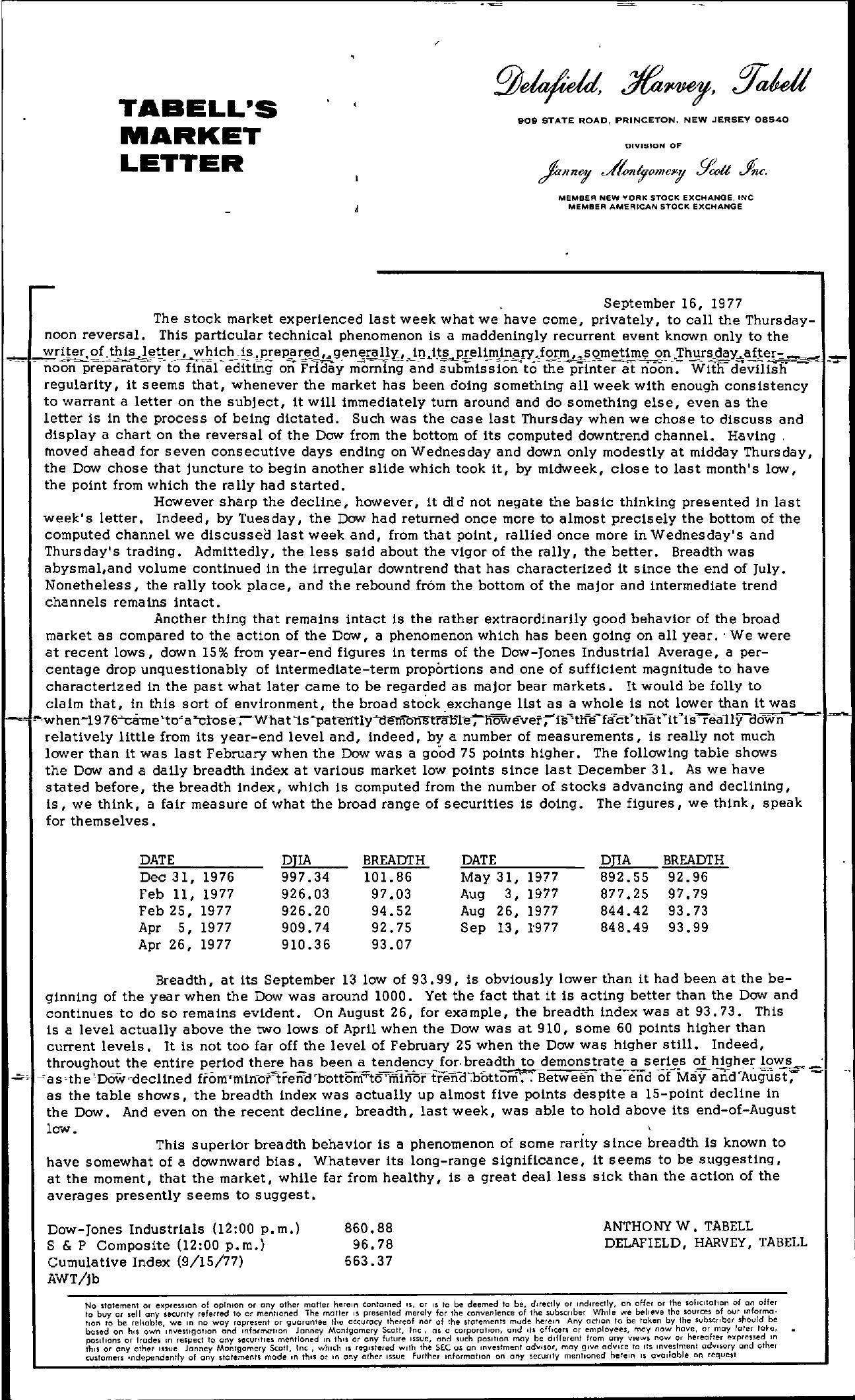 Tabell's Market Letter - September 16, 1977