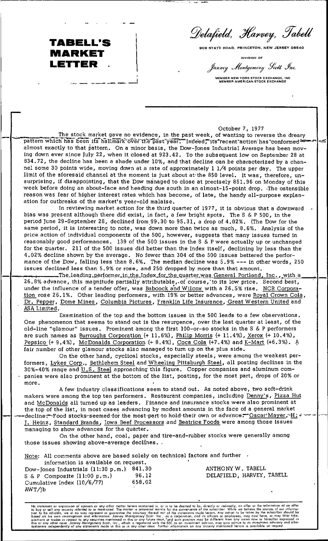 Tabell's Market Letter - October 07, 1977