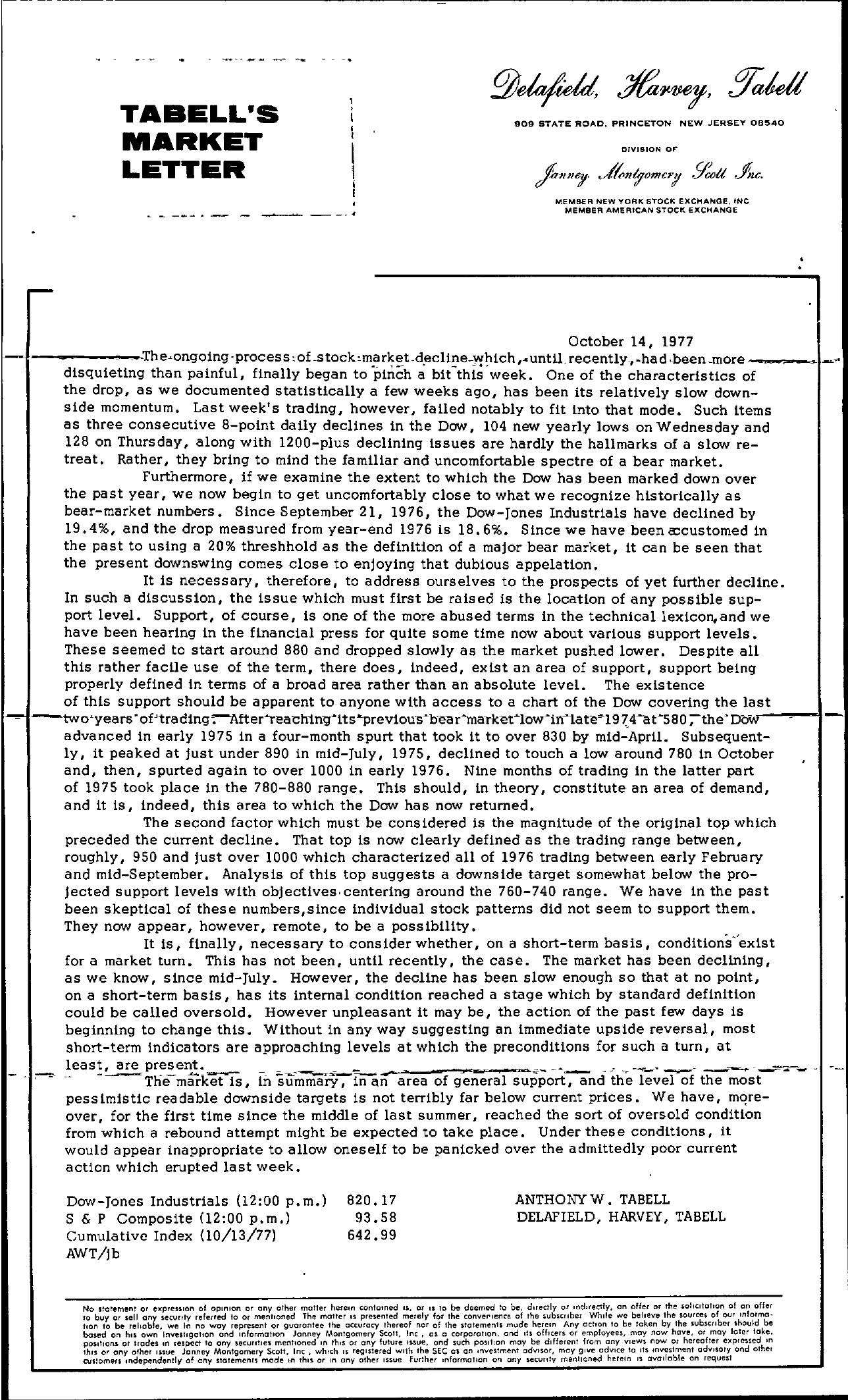 Tabell's Market Letter - October 14, 1977