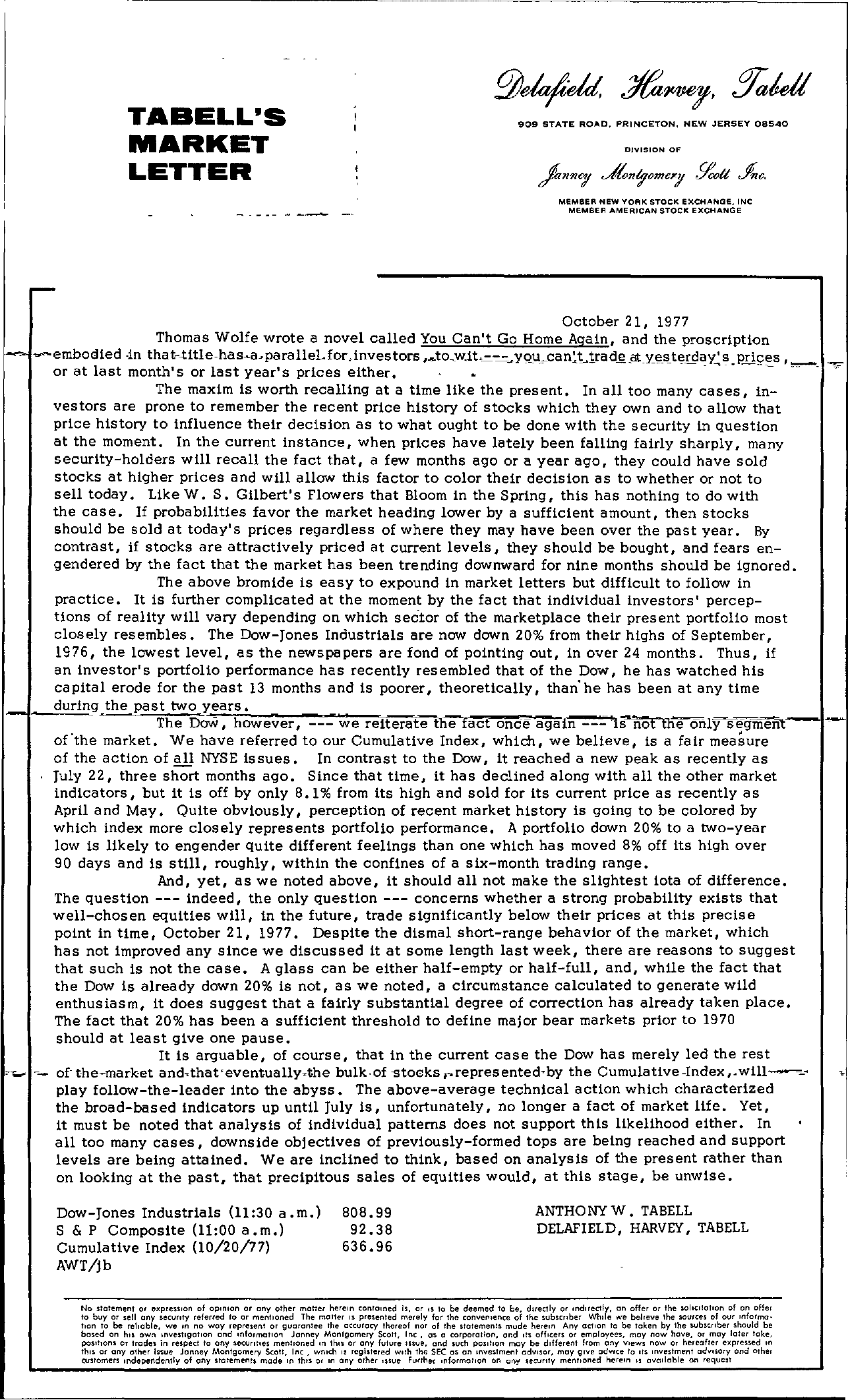 Tabell's Market Letter - October 21, 1977