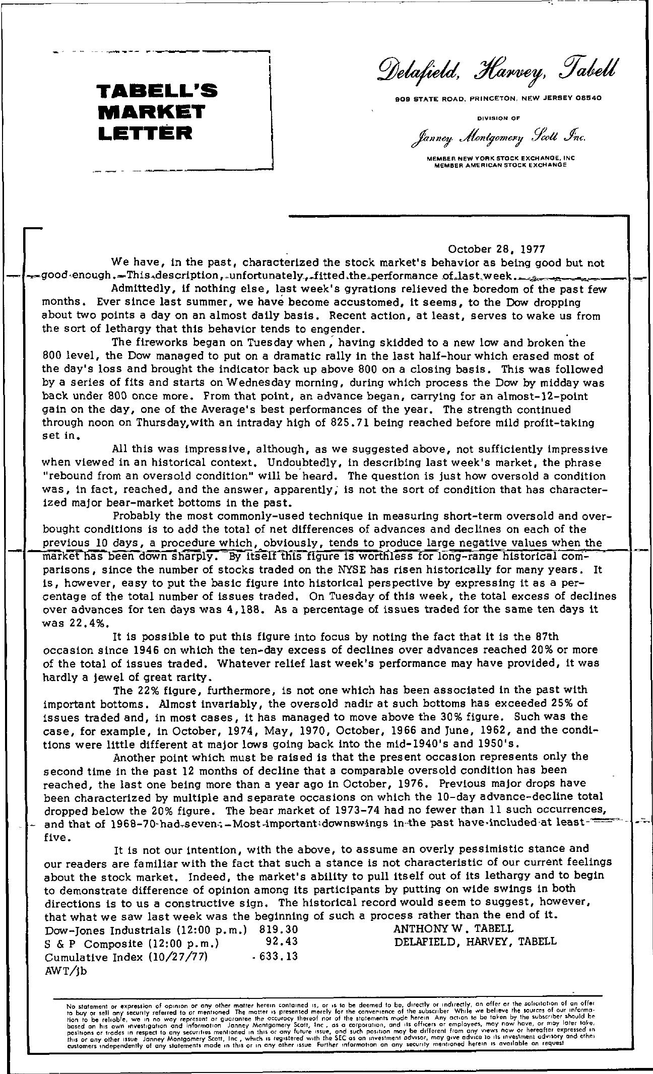 Tabell's Market Letter - October 28, 1977