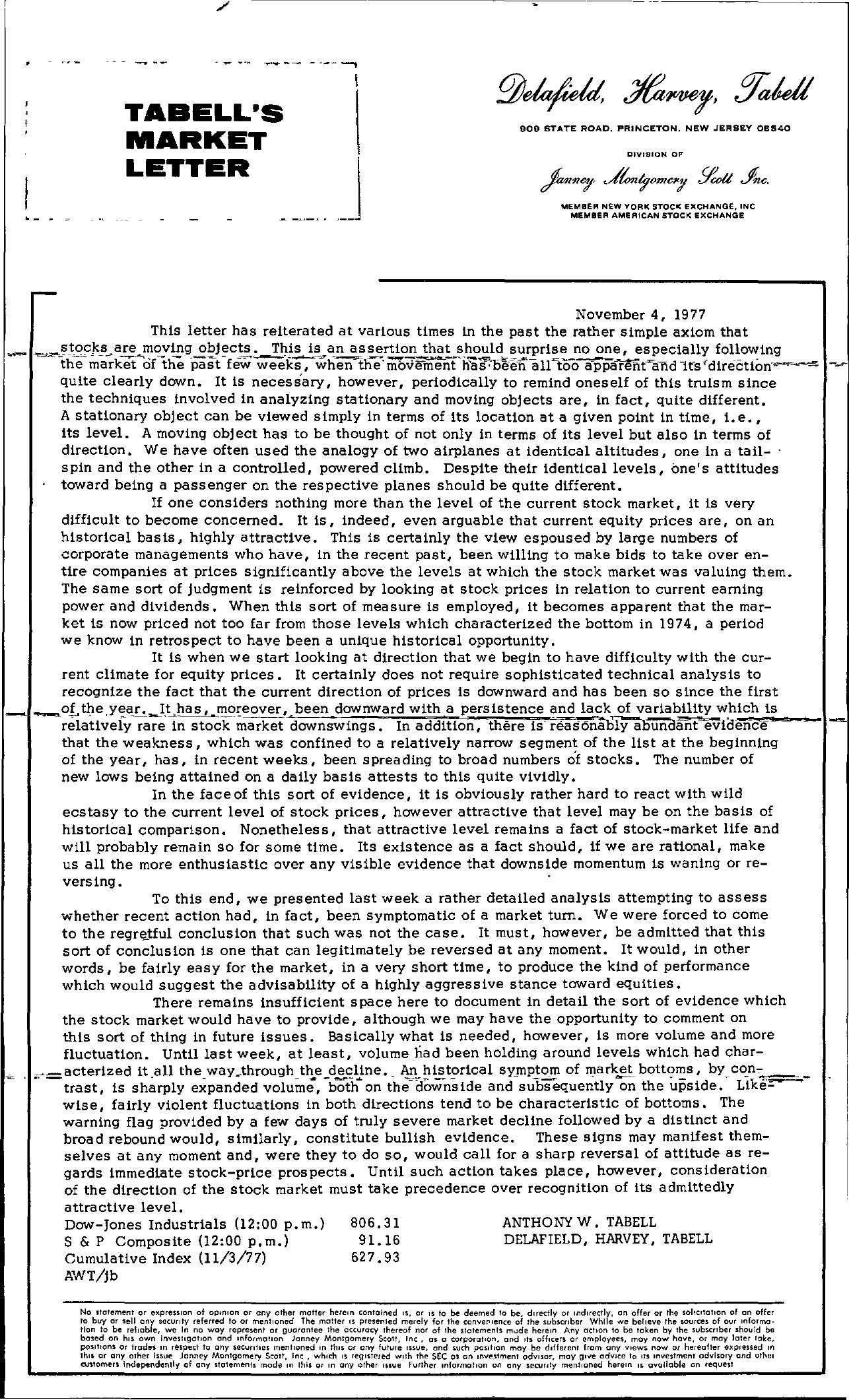 Tabell's Market Letter - November 04, 1977