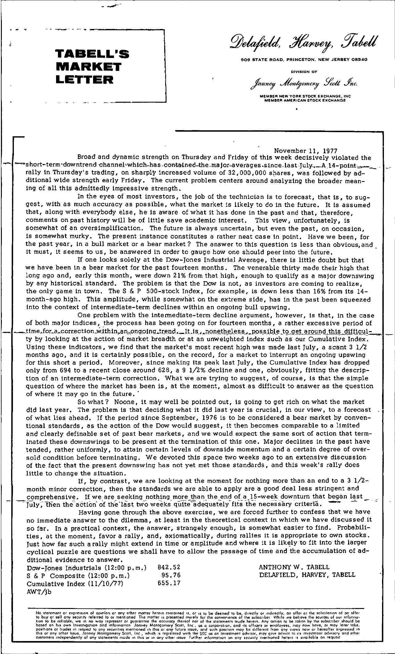 Tabell's Market Letter - November 11, 1977