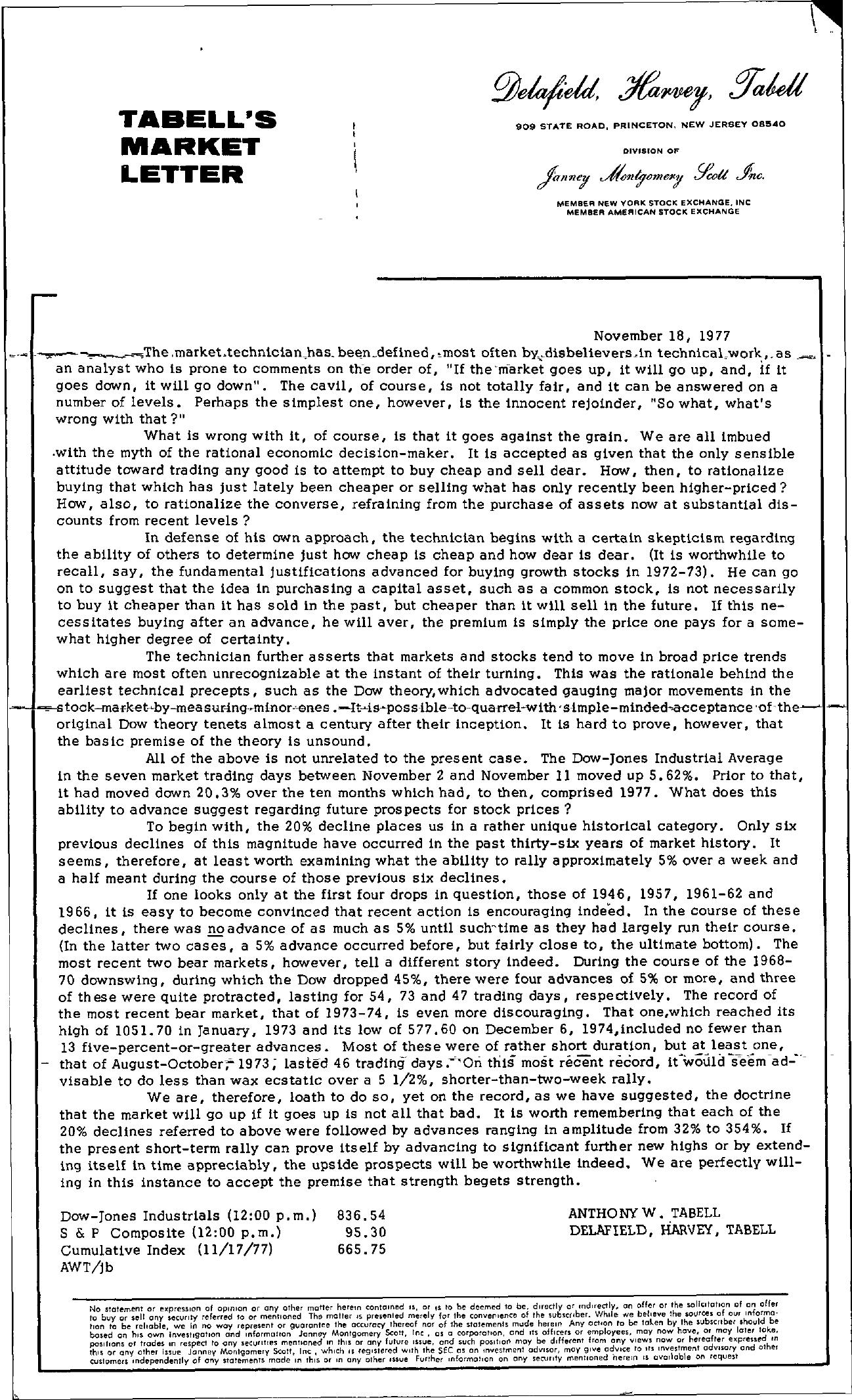 Tabell's Market Letter - November 18, 1977