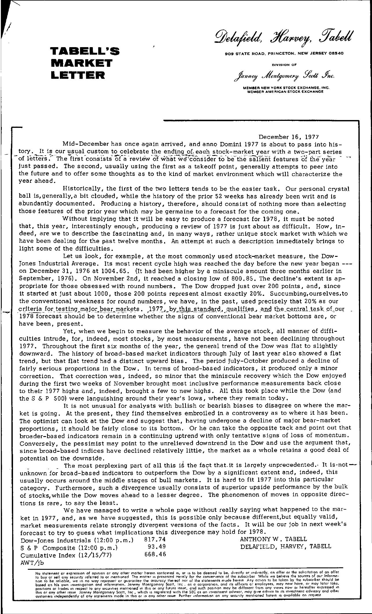Tabell's Market Letter - December 16, 1977