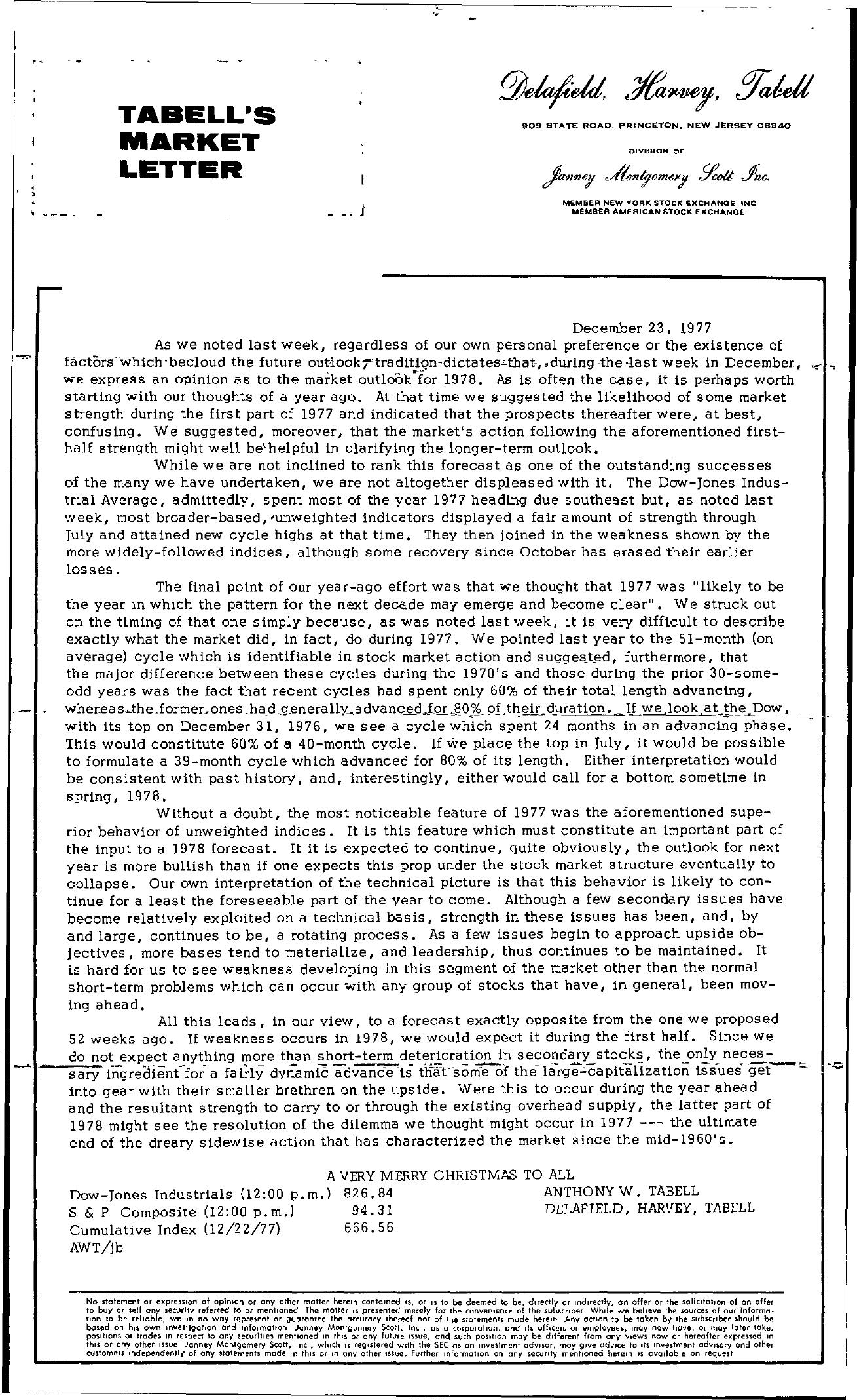 Tabell's Market Letter - December 23, 1977
