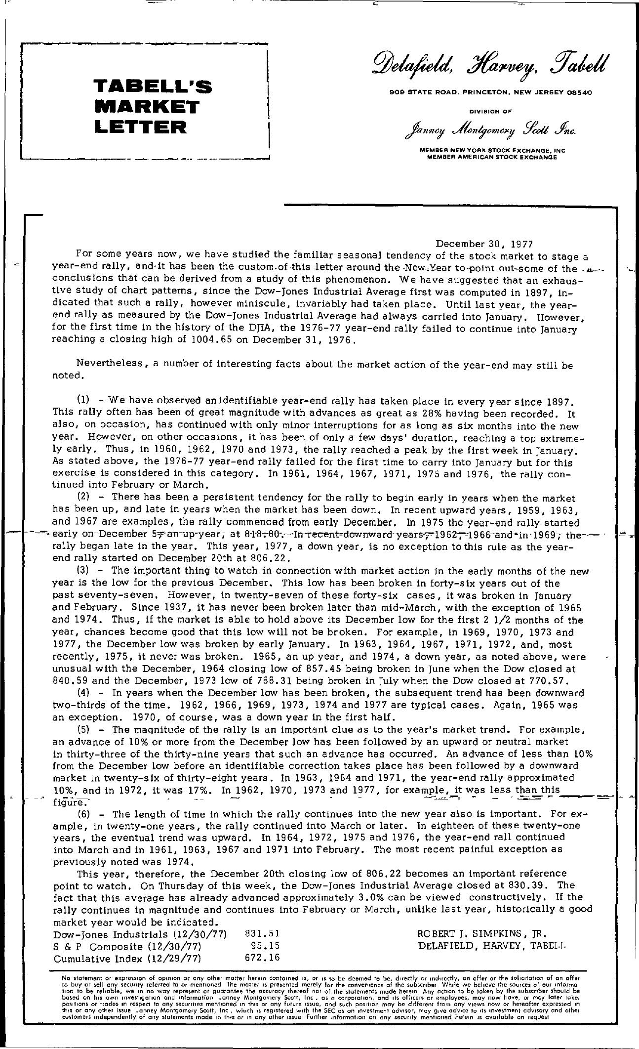 Tabell's Market Letter - December 30, 1977