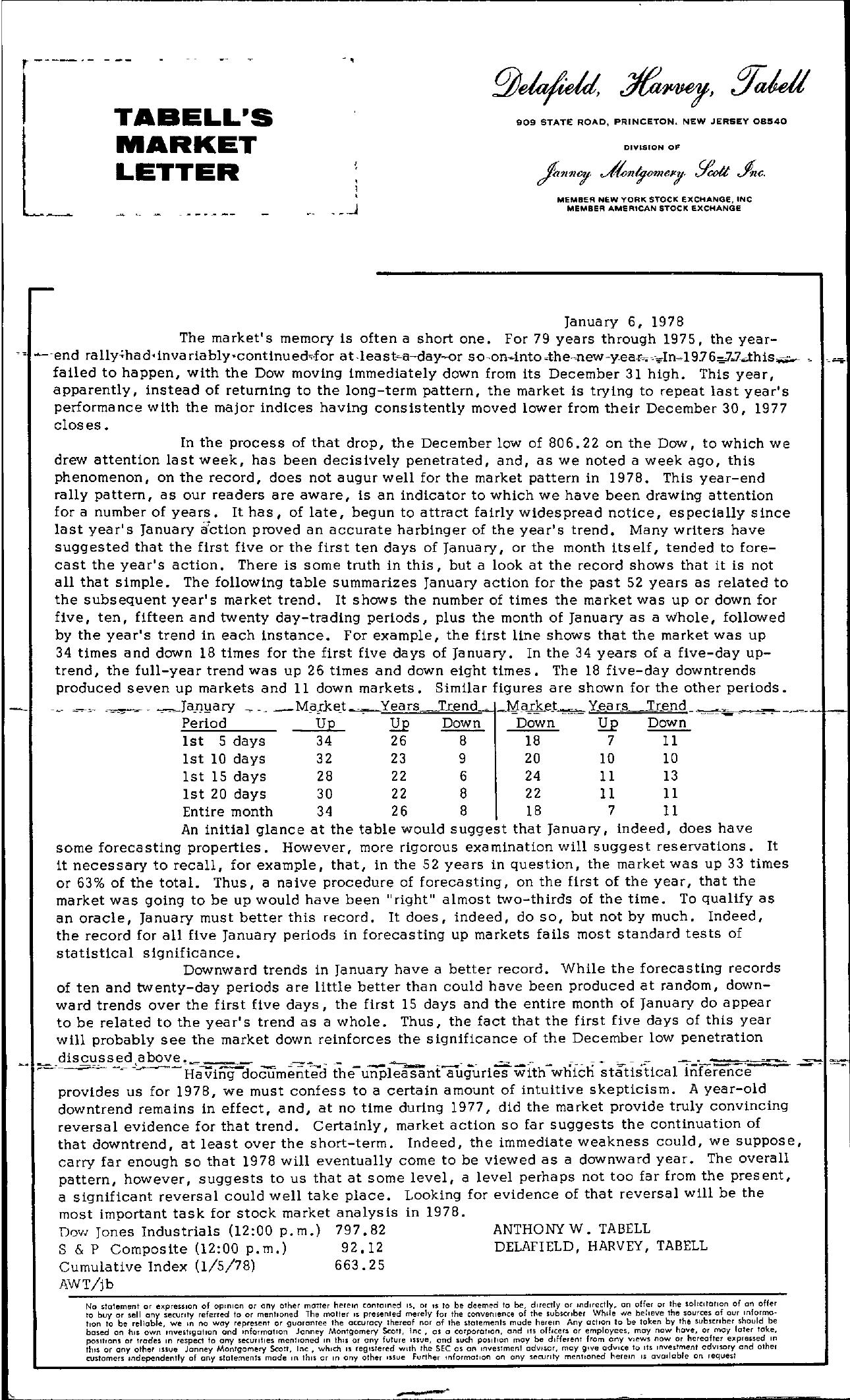 Tabell's Market Letter - January 06, 1978