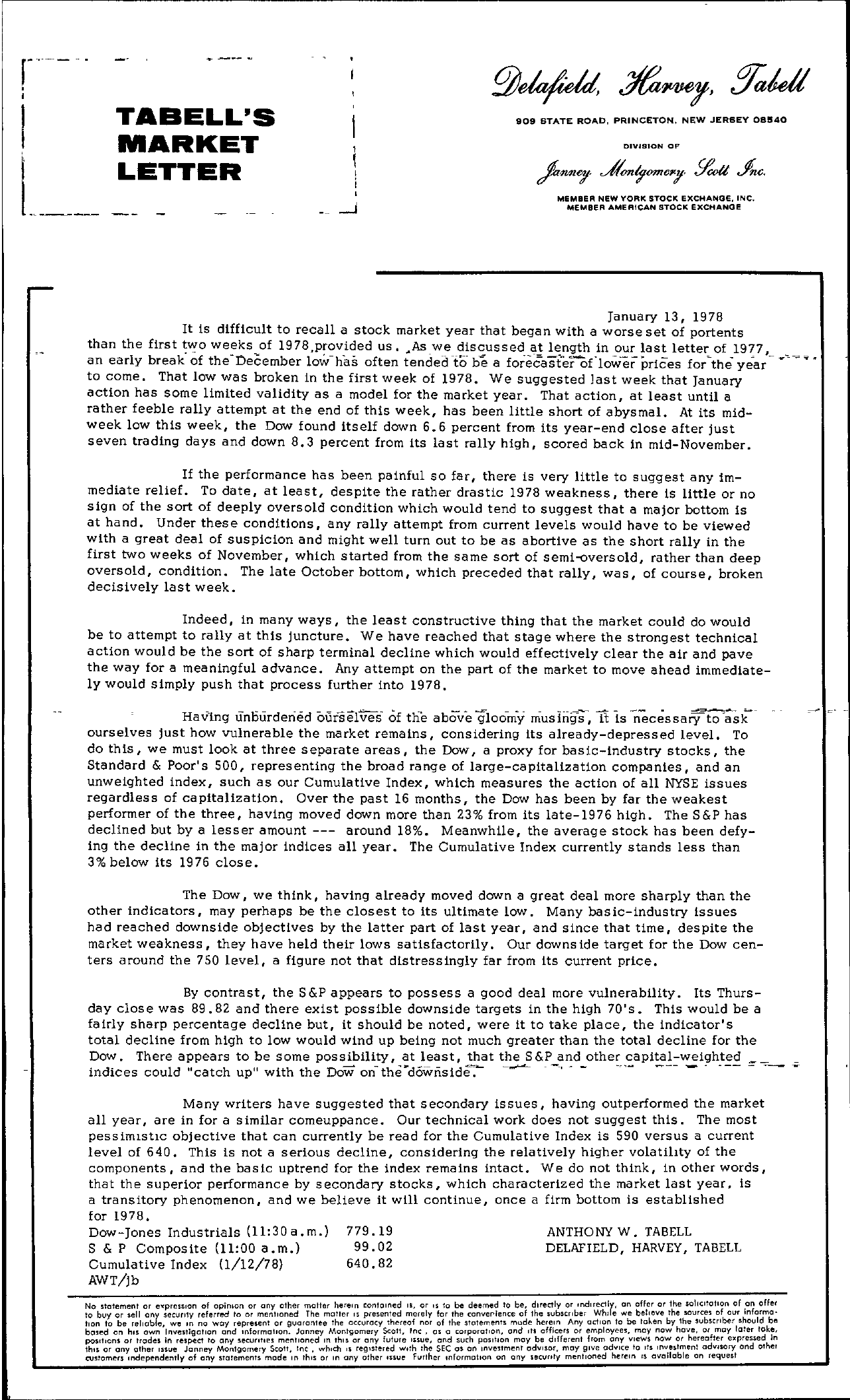 Tabell's Market Letter - January 13, 1978