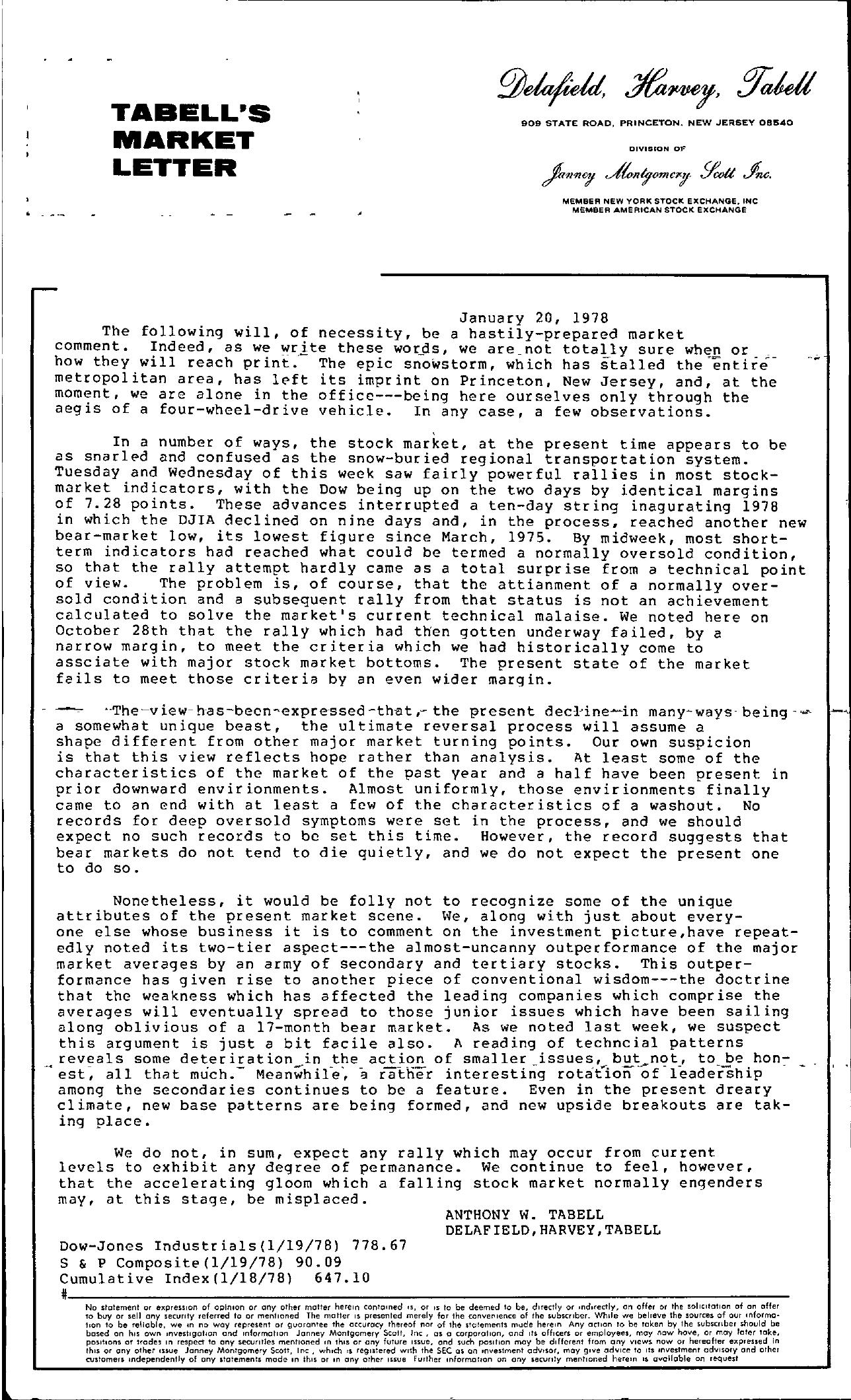 Tabell's Market Letter - January 20, 1978