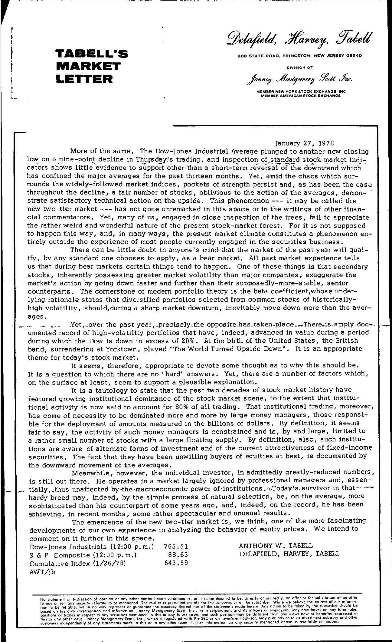 Tabell's Market Letter - January 27, 1978
