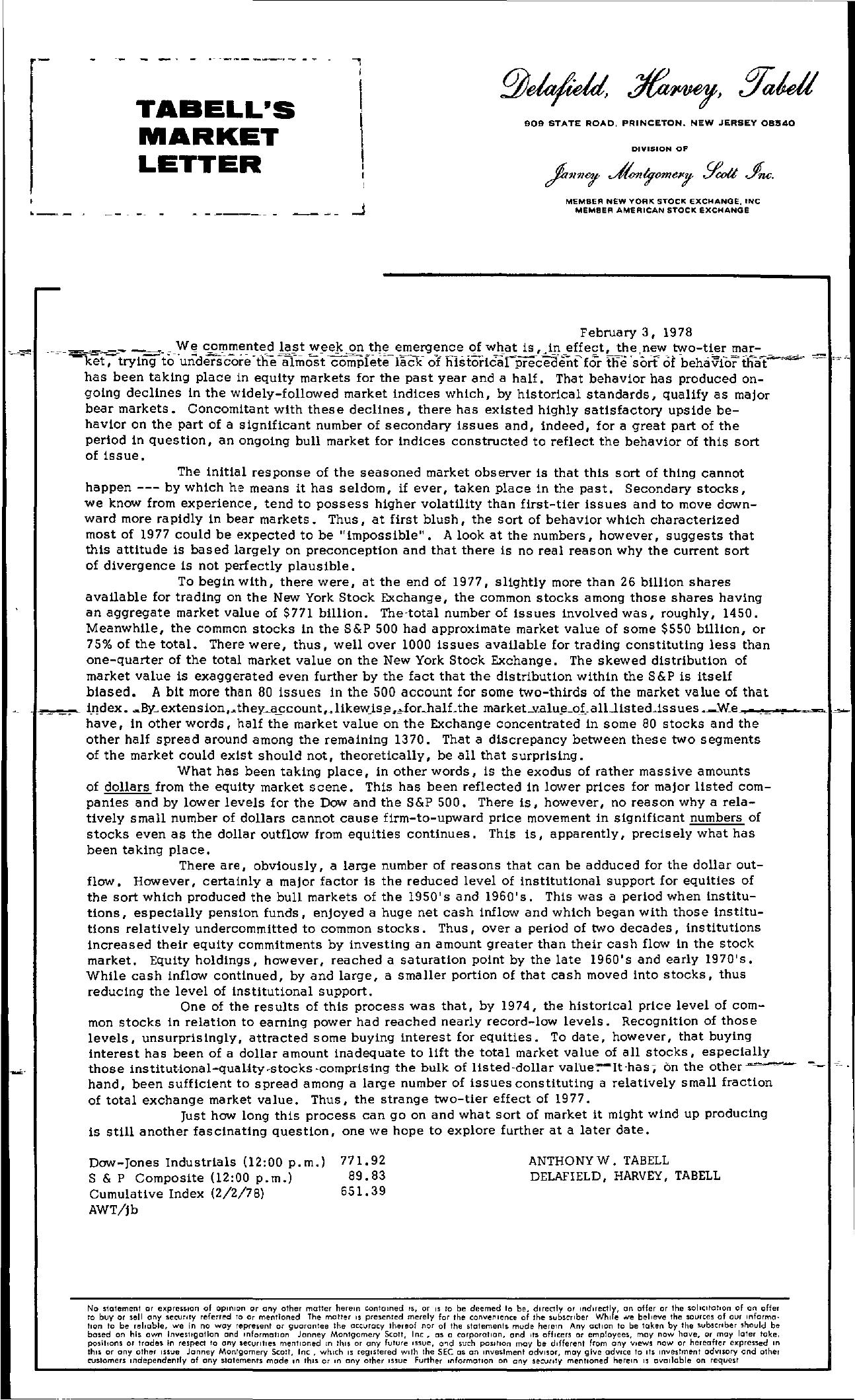 Tabell's Market Letter - February 03, 1978