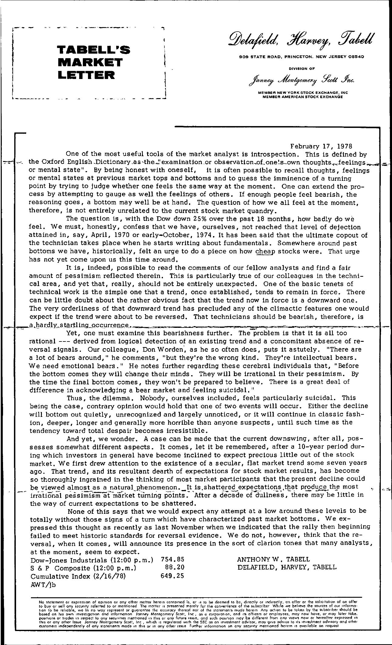 Tabell's Market Letter - February 17, 1978