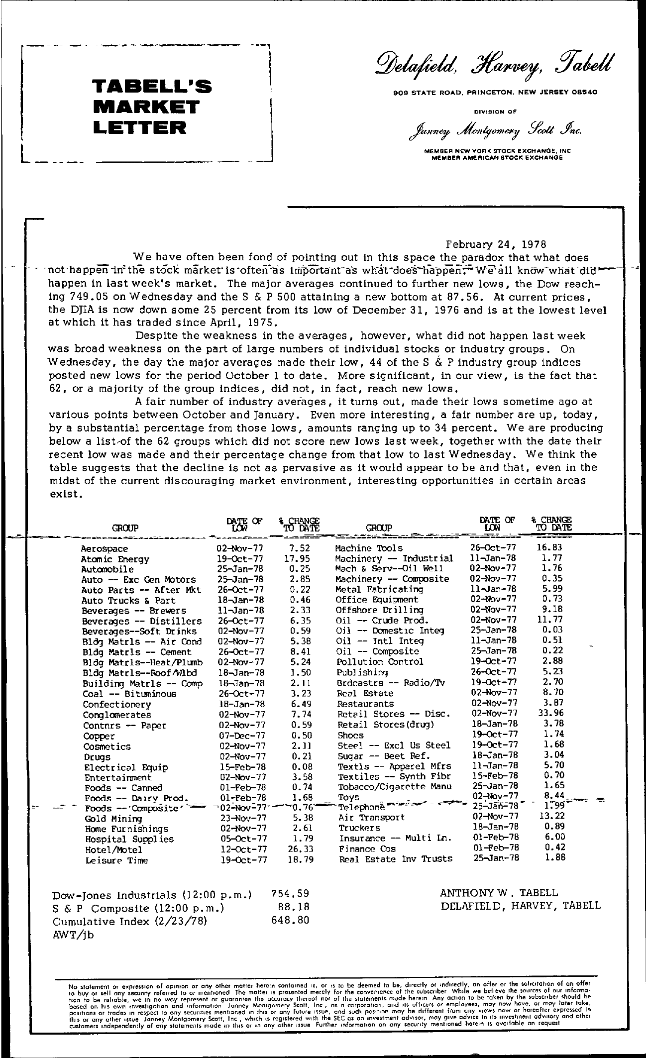 Tabell's Market Letter - February 24, 1978