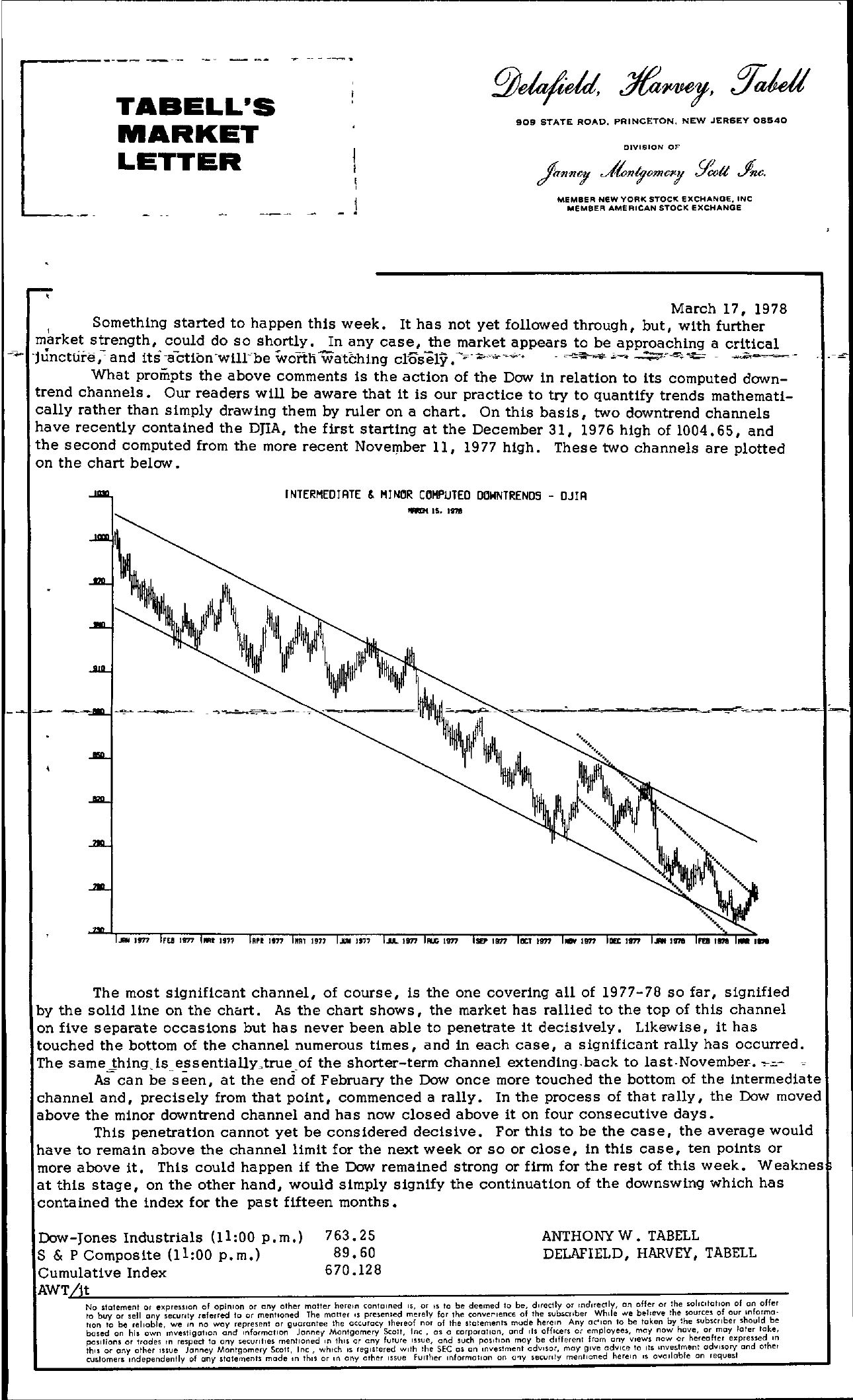 Tabell's Market Letter - March 17, 1978