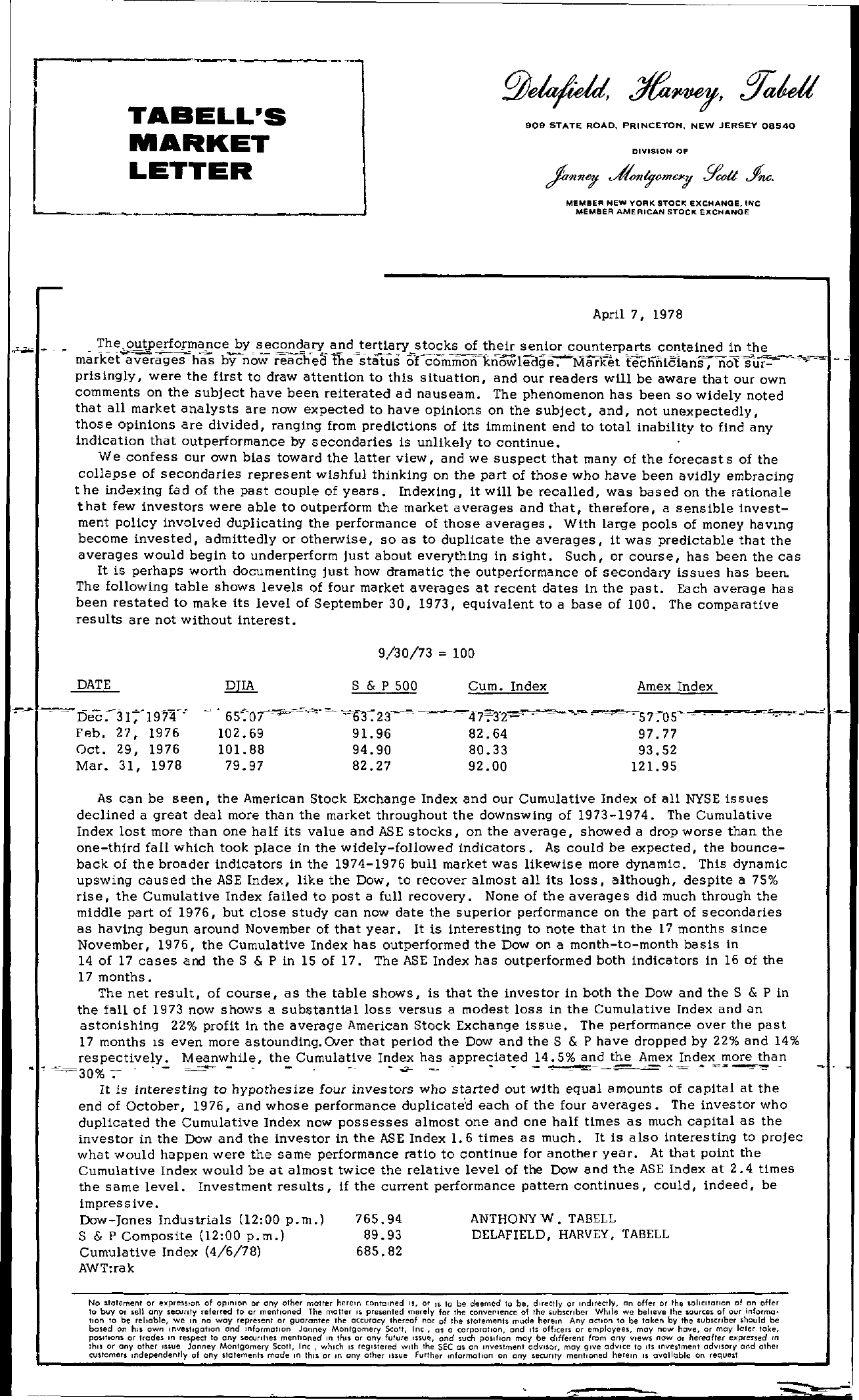 Tabell's Market Letter - April 07, 1978