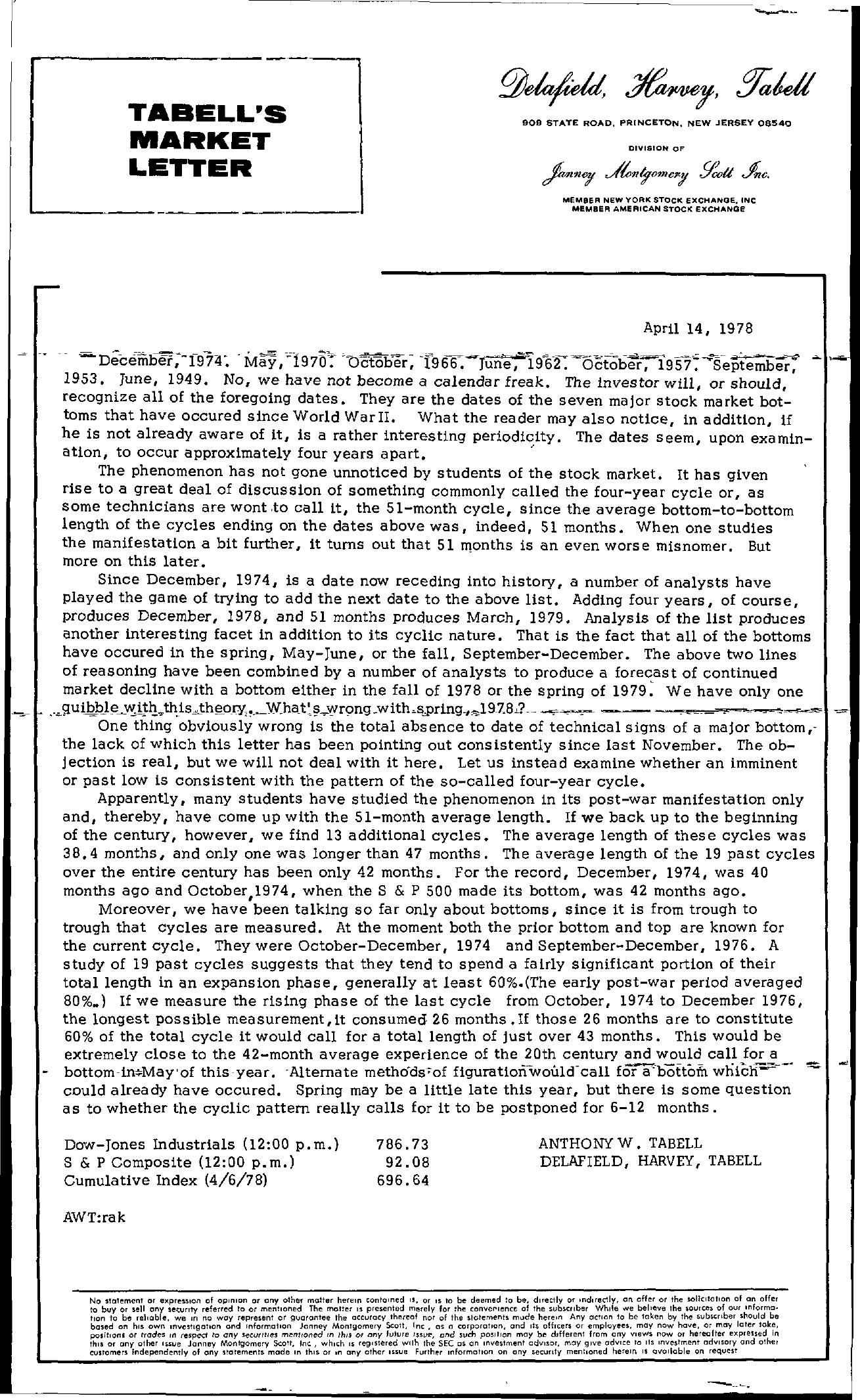 Tabell's Market Letter - April 14, 1978