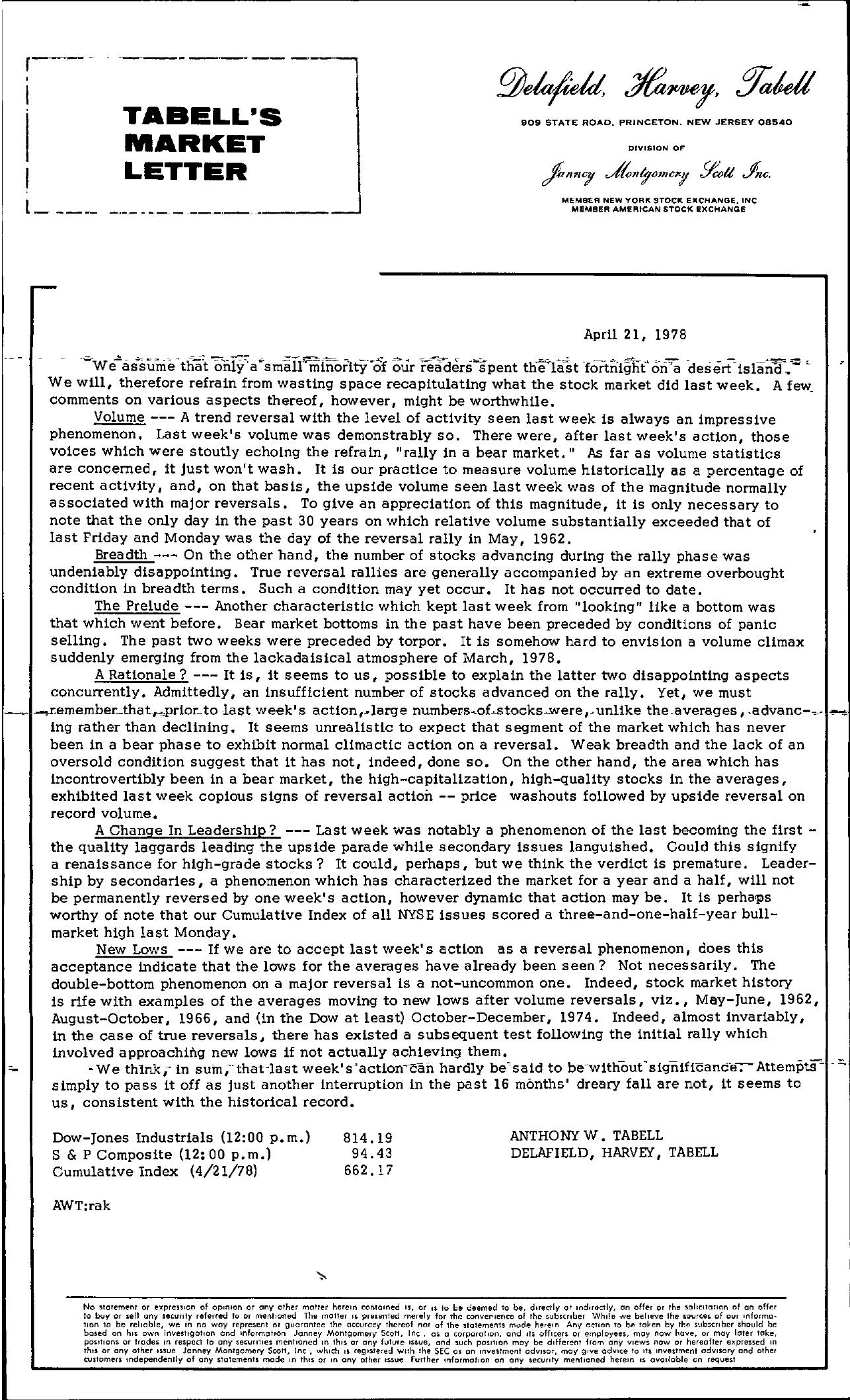 Tabell's Market Letter - April 21, 1978