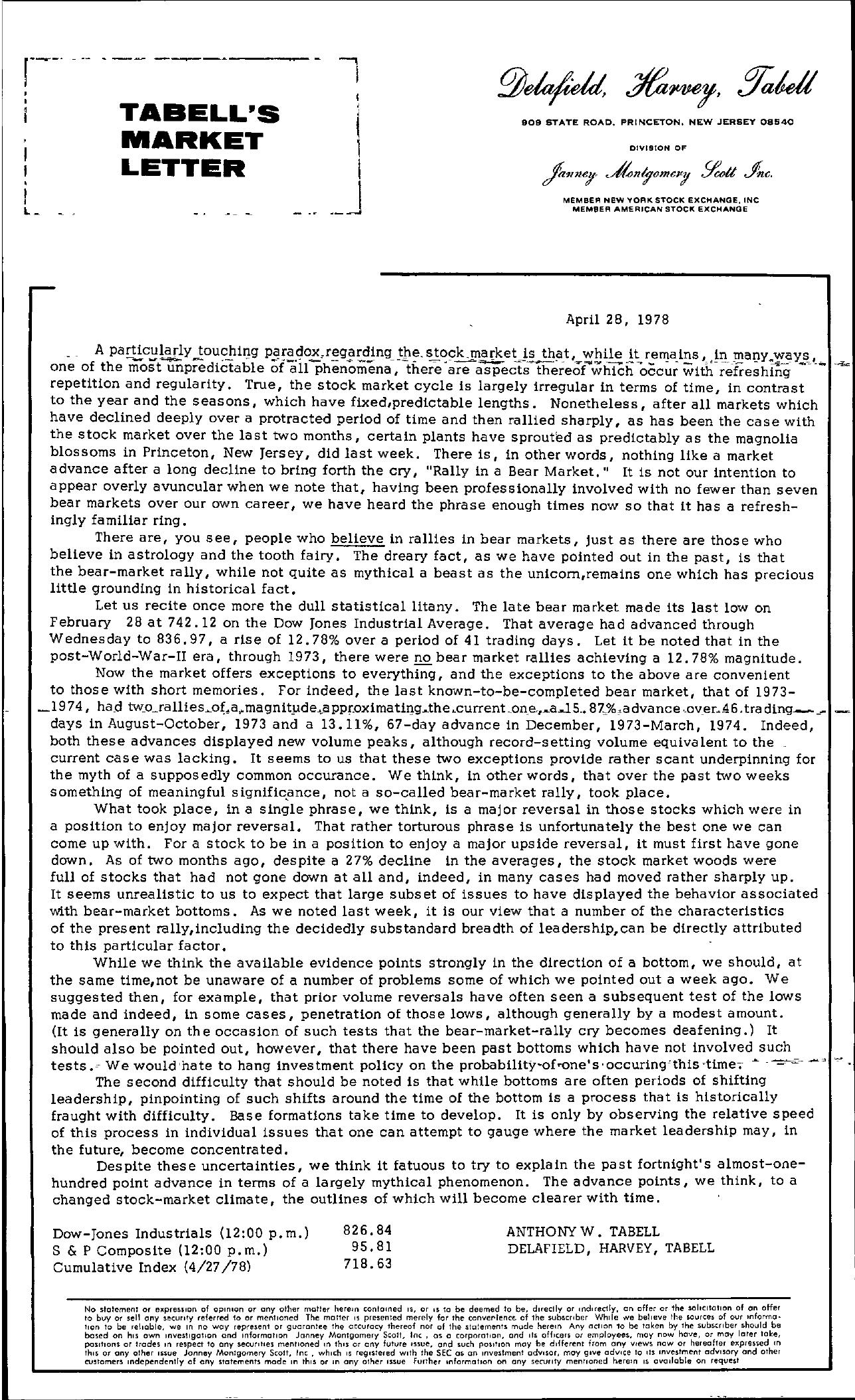 Tabell's Market Letter - April 28, 1978