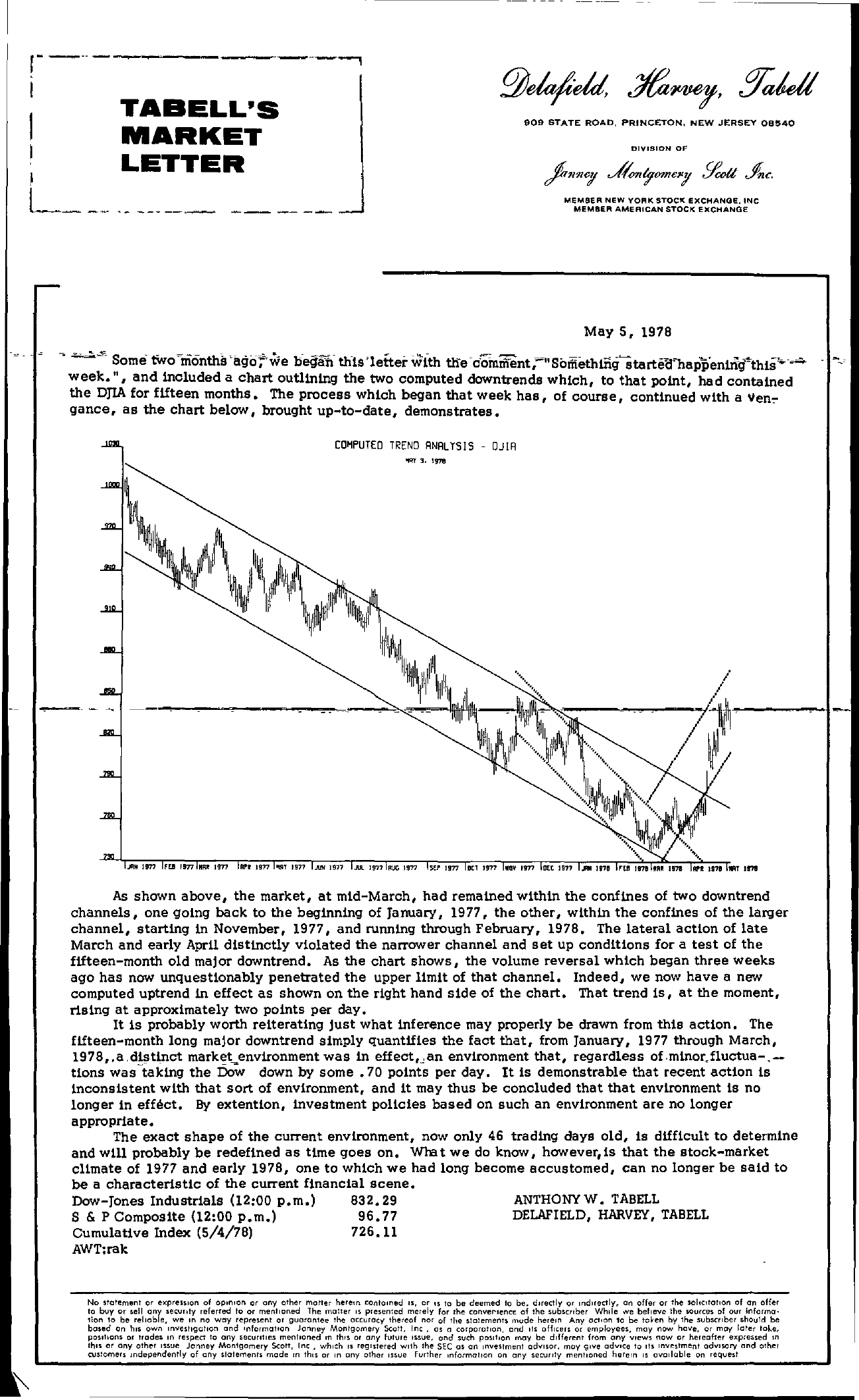 Tabell's Market Letter - May 05, 1978