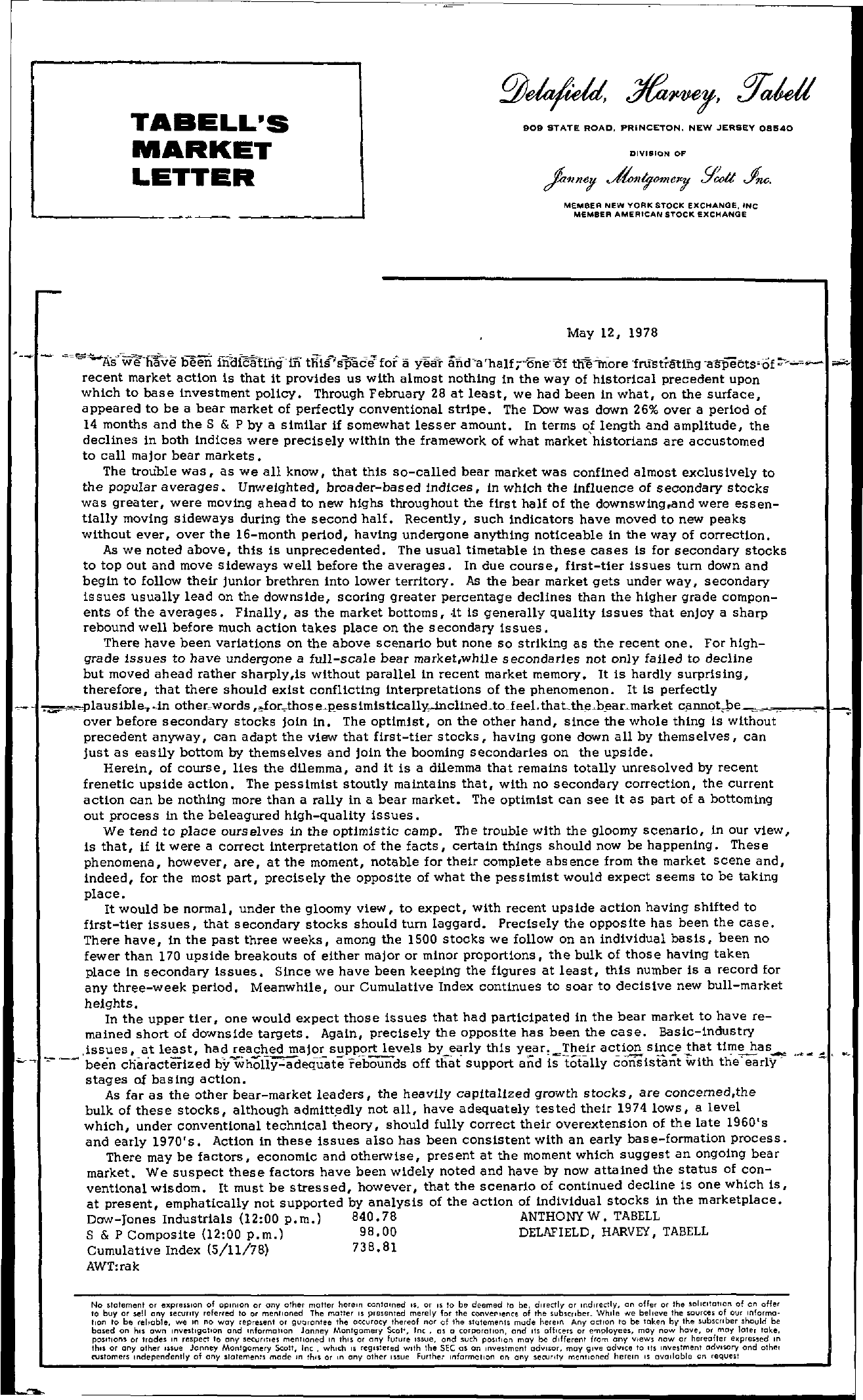 Tabell's Market Letter - May 12, 1978