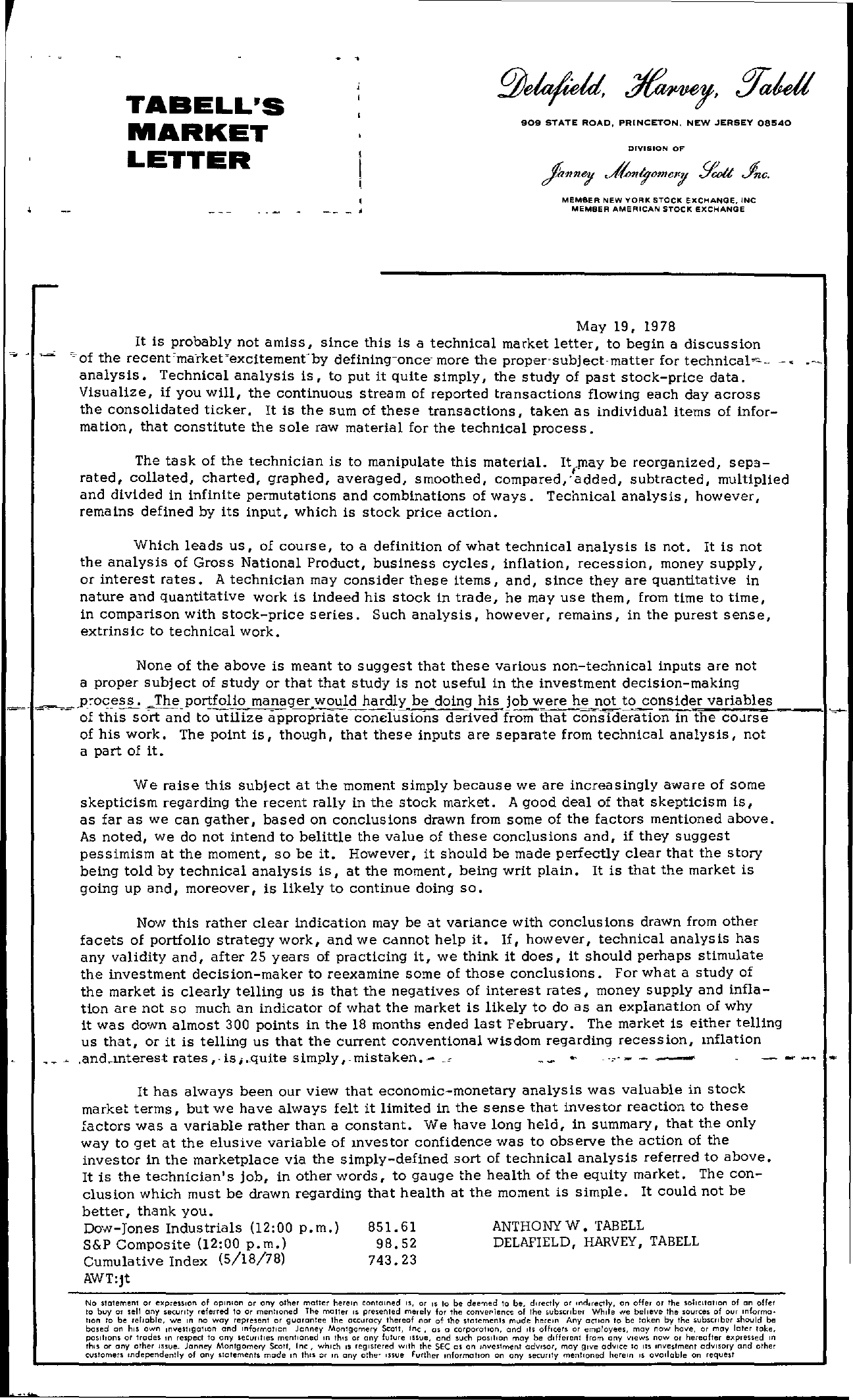 Tabell's Market Letter - May 19, 1978