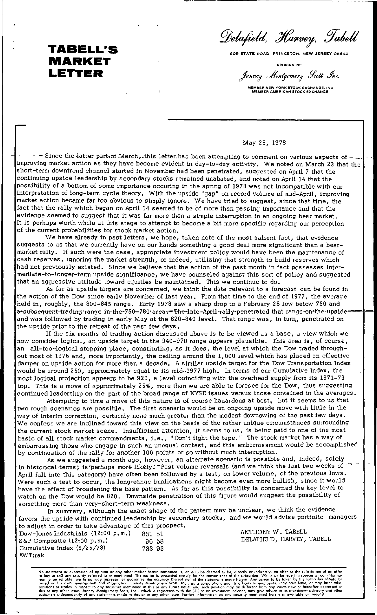 Tabell's Market Letter - May 26, 1978