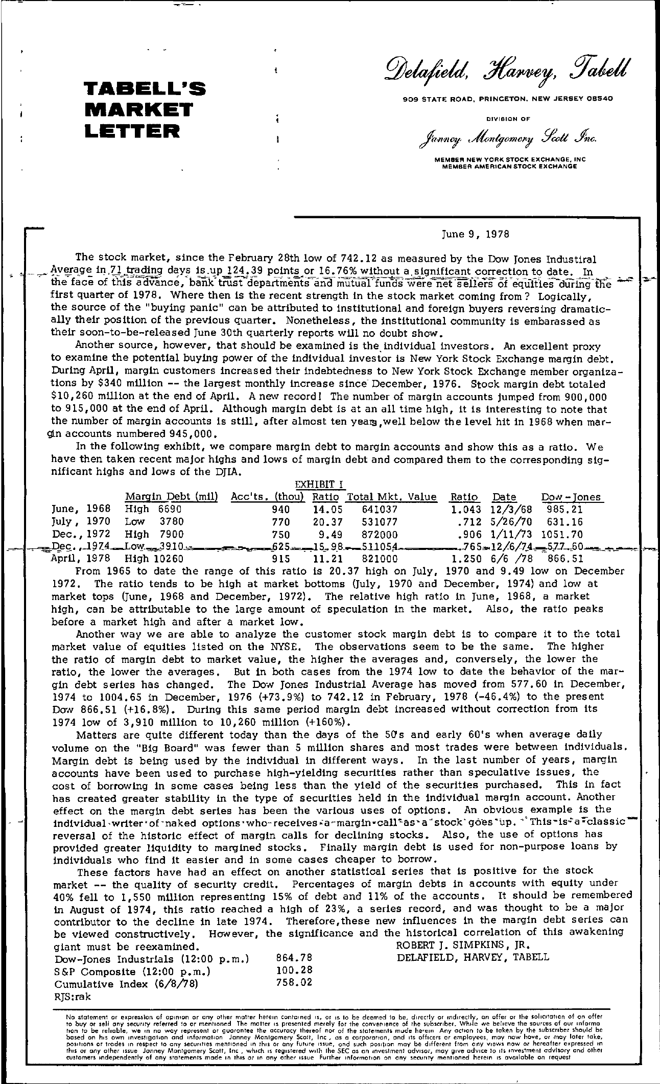 Tabell's Market Letter - June 09, 1978 page 1