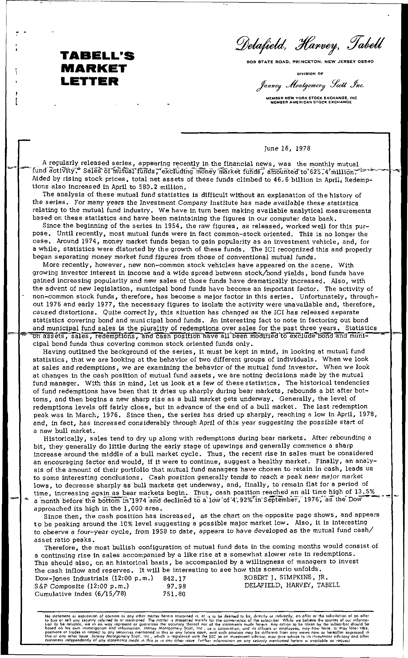 Tabell's Market Letter - June 16, 1978 page 1