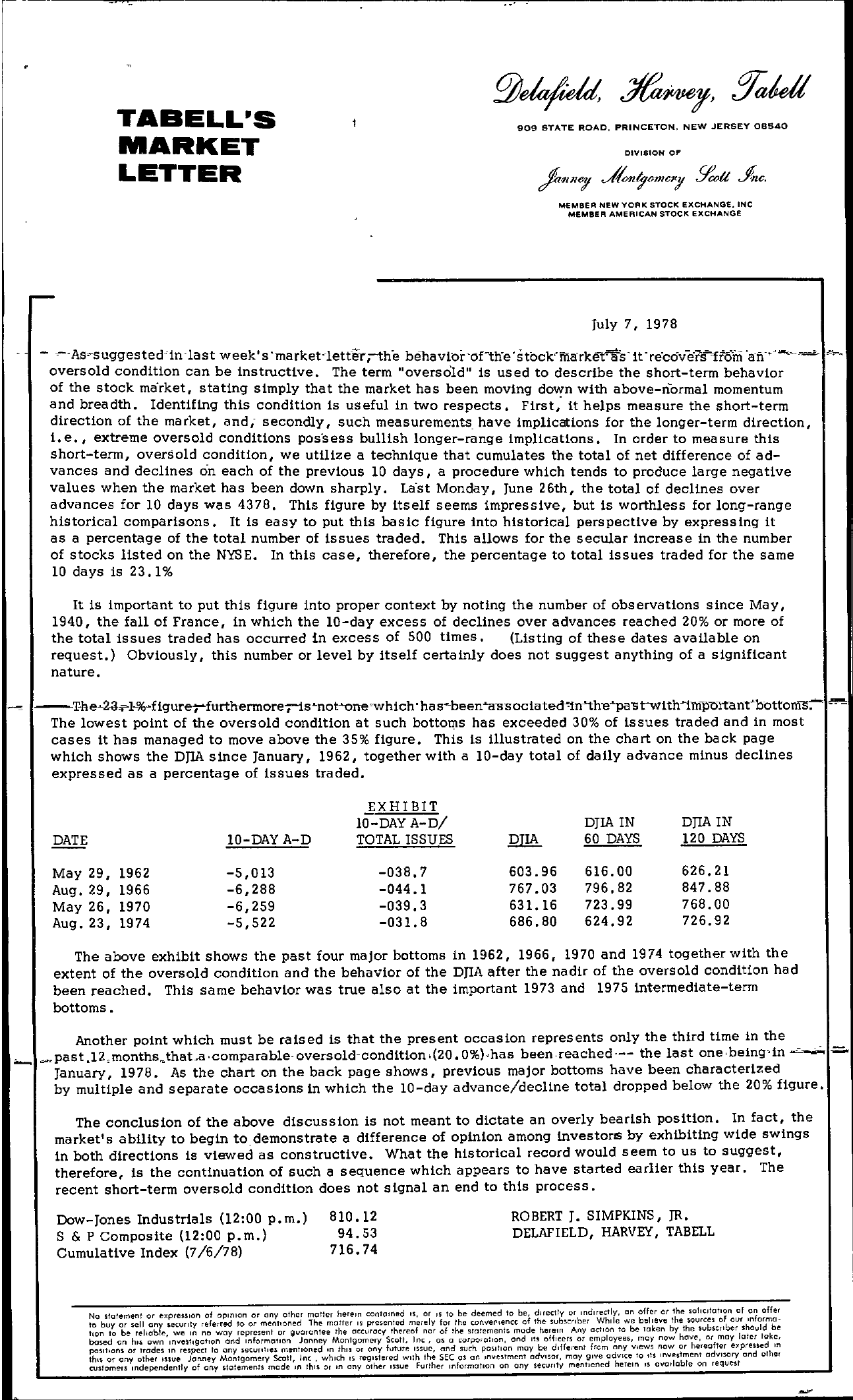 Tabell's Market Letter - July 07, 1978 page 1