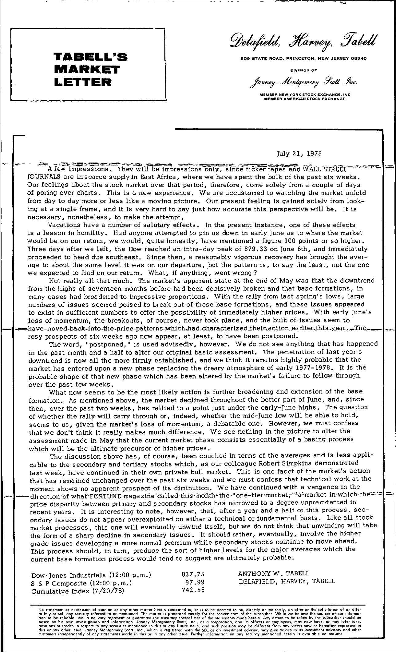 Tabell's Market Letter - July 21, 1978