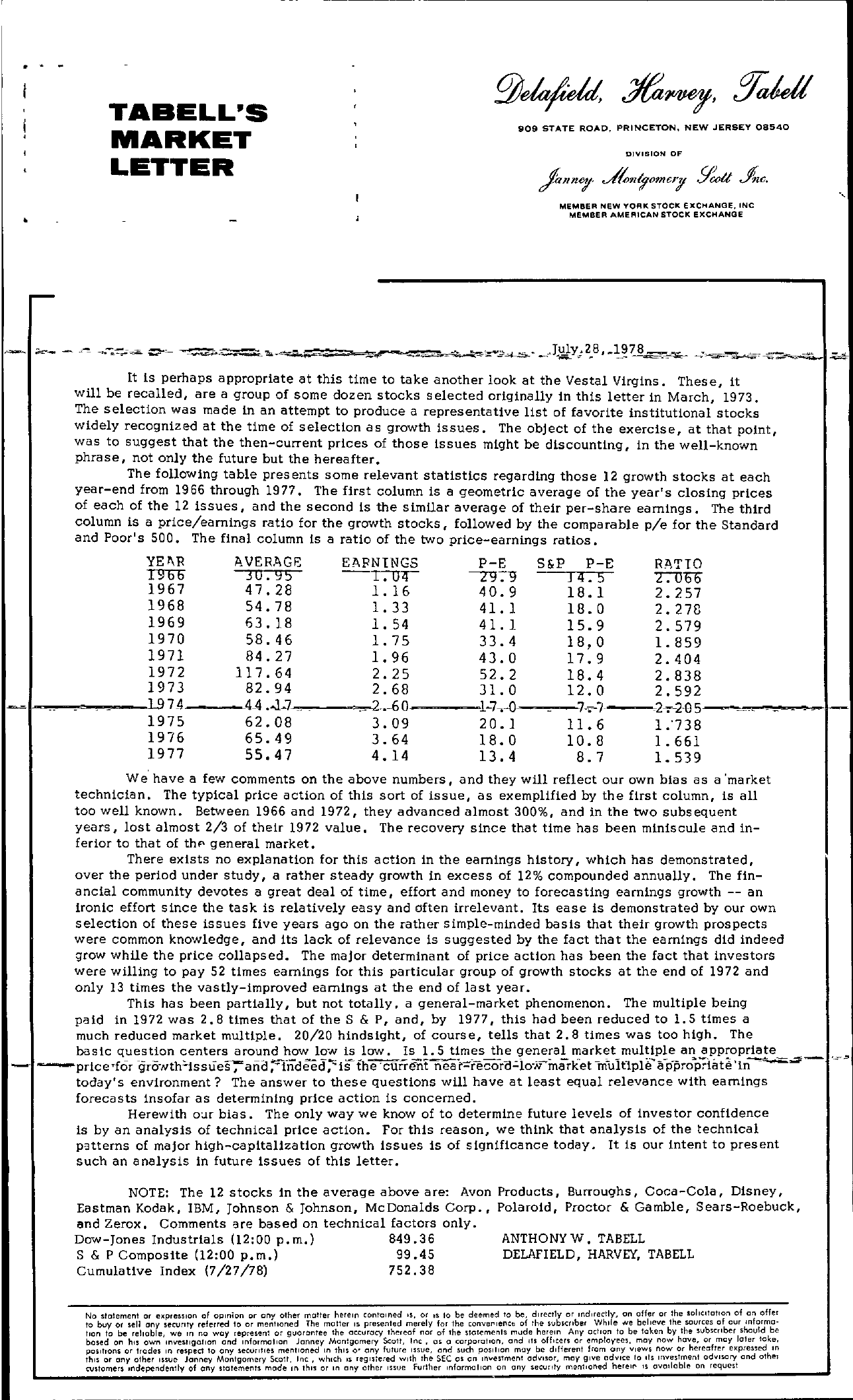 Tabell's Market Letter - July 28, 1978