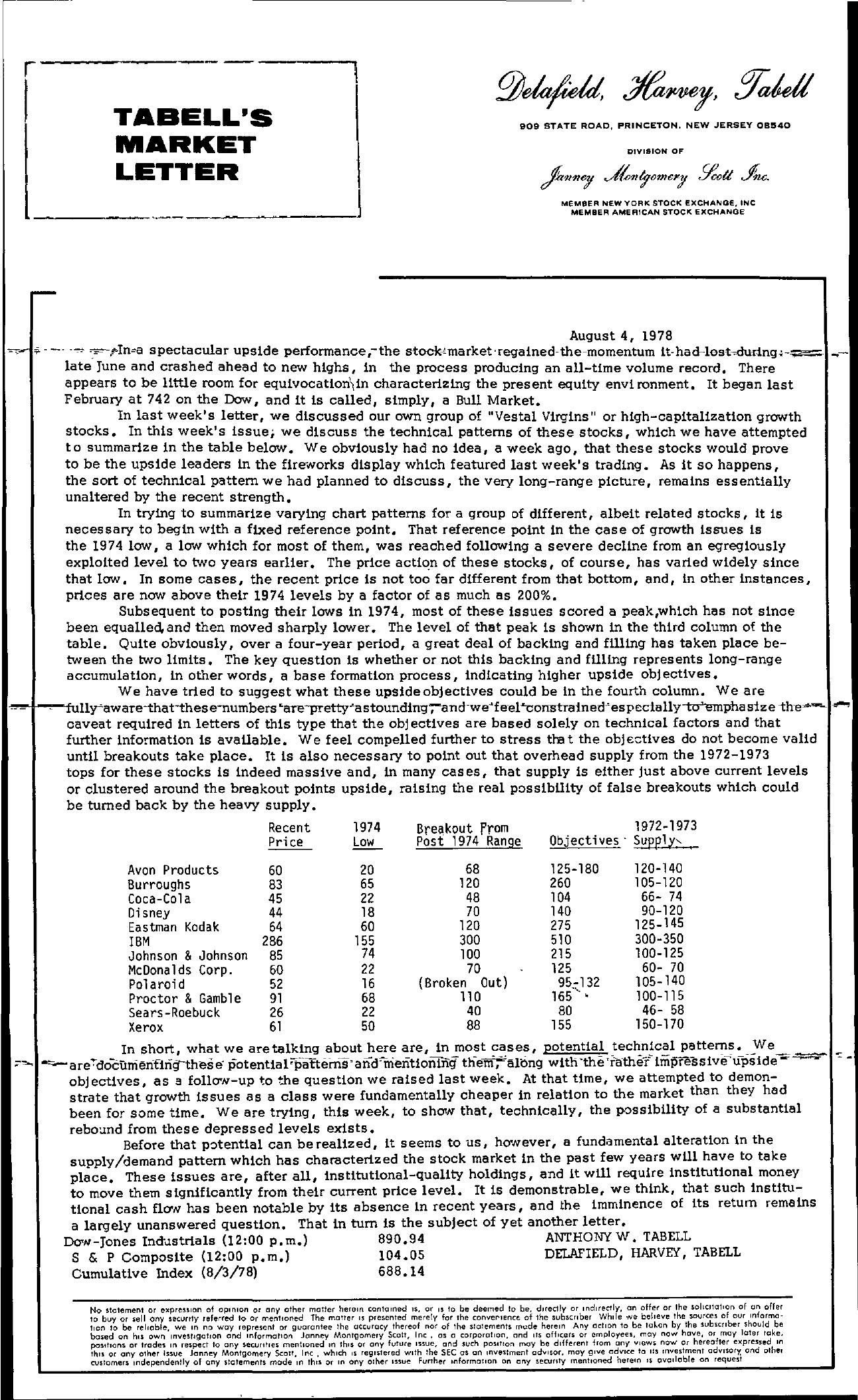Tabell's Market Letter - August 04, 1978