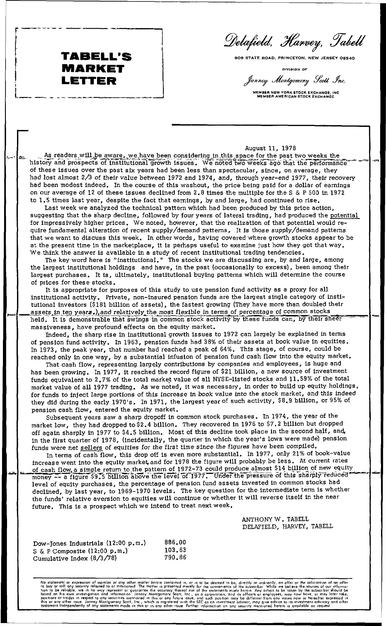Tabell's Market Letter - August 11, 1978