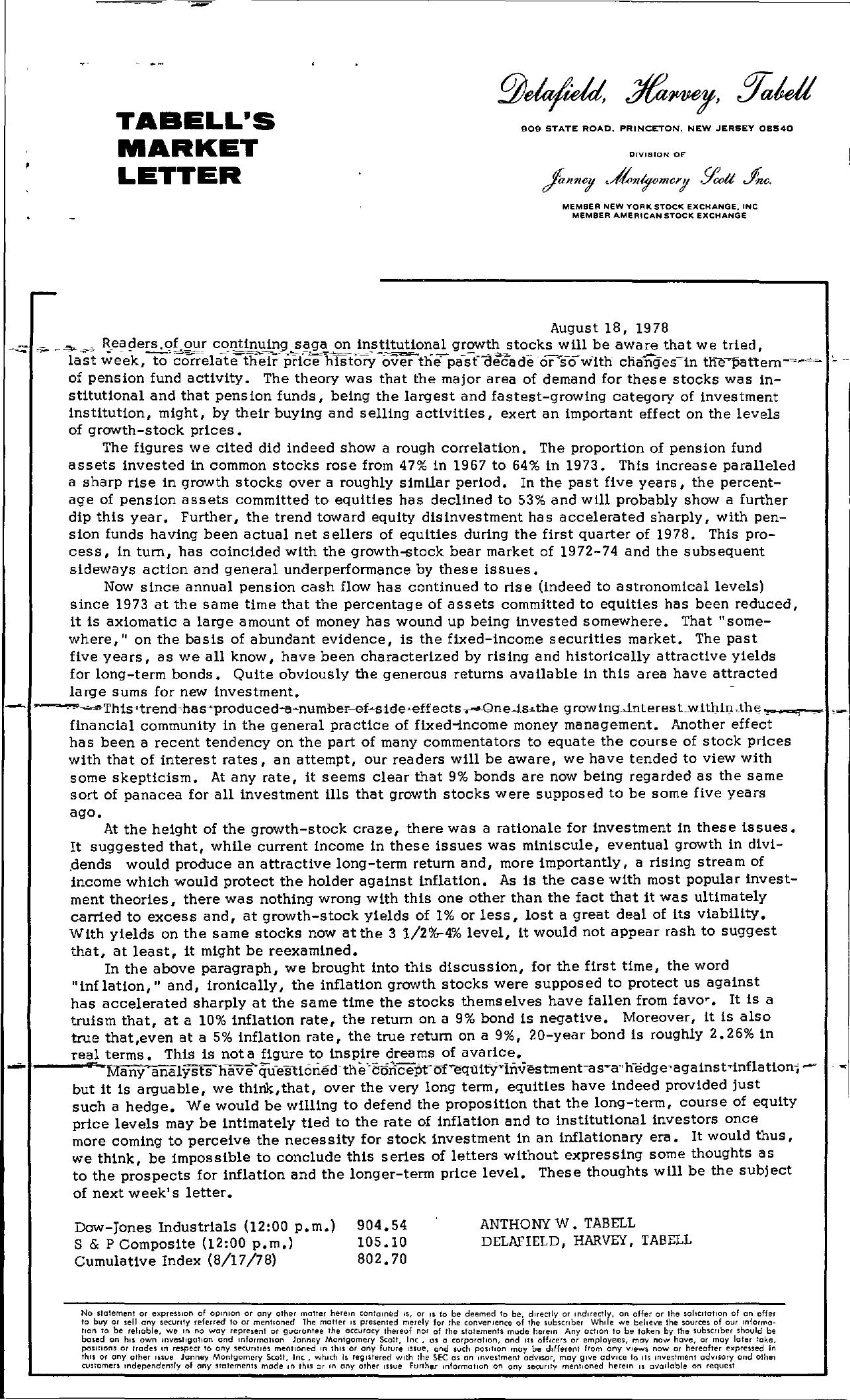 Tabell's Market Letter - August 18, 1978