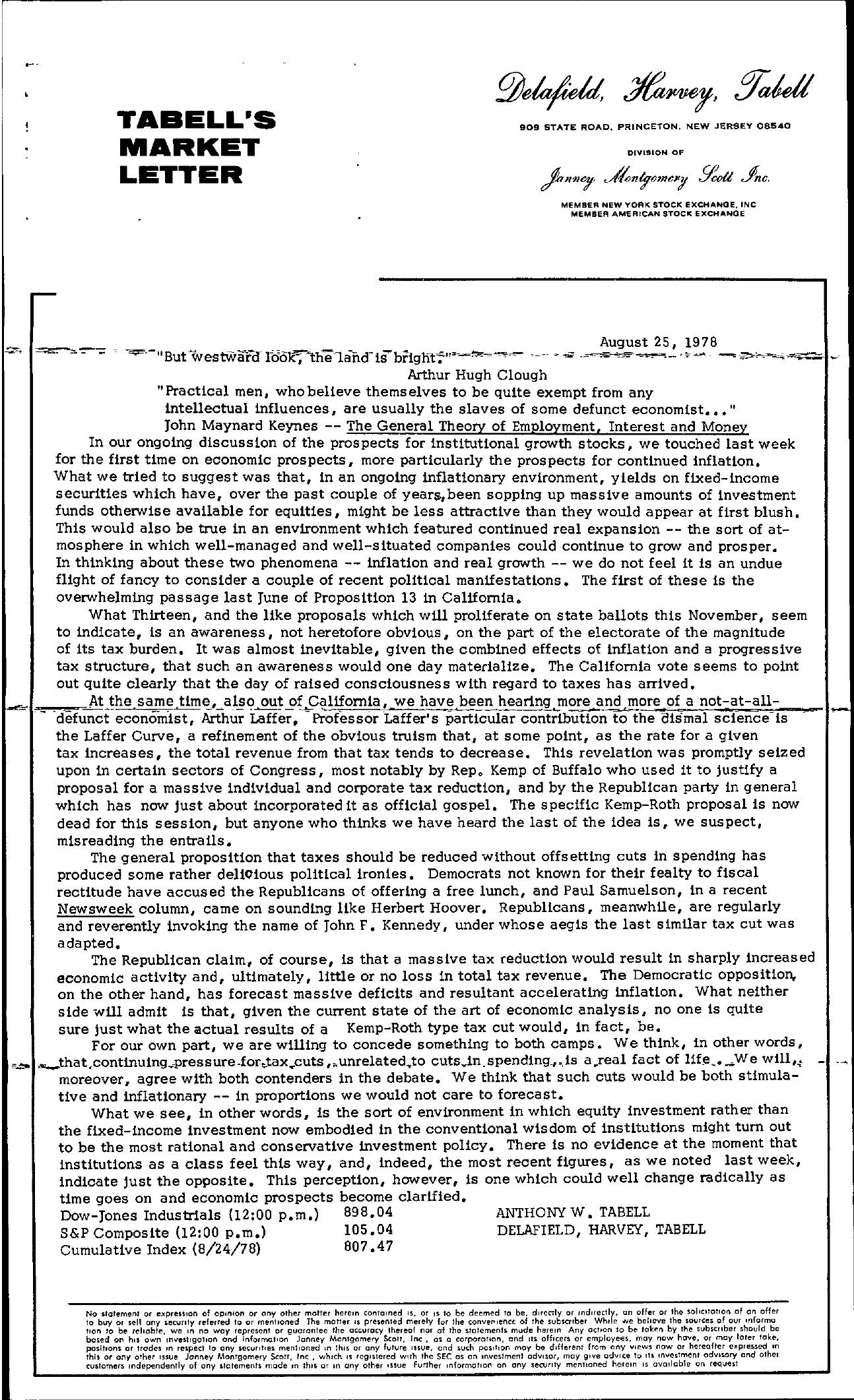 Tabell's Market Letter - August 25, 1978