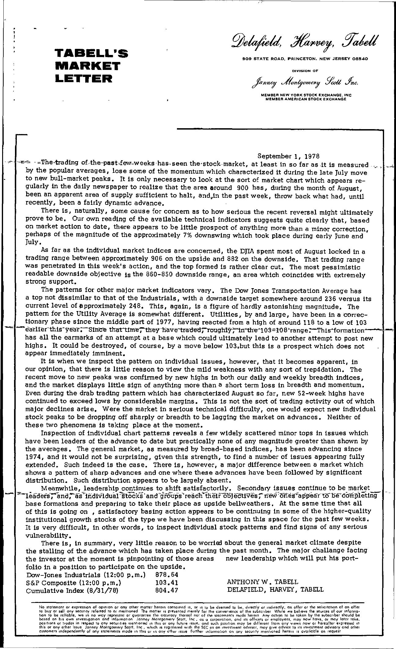 Tabell's Market Letter - September 01, 1978