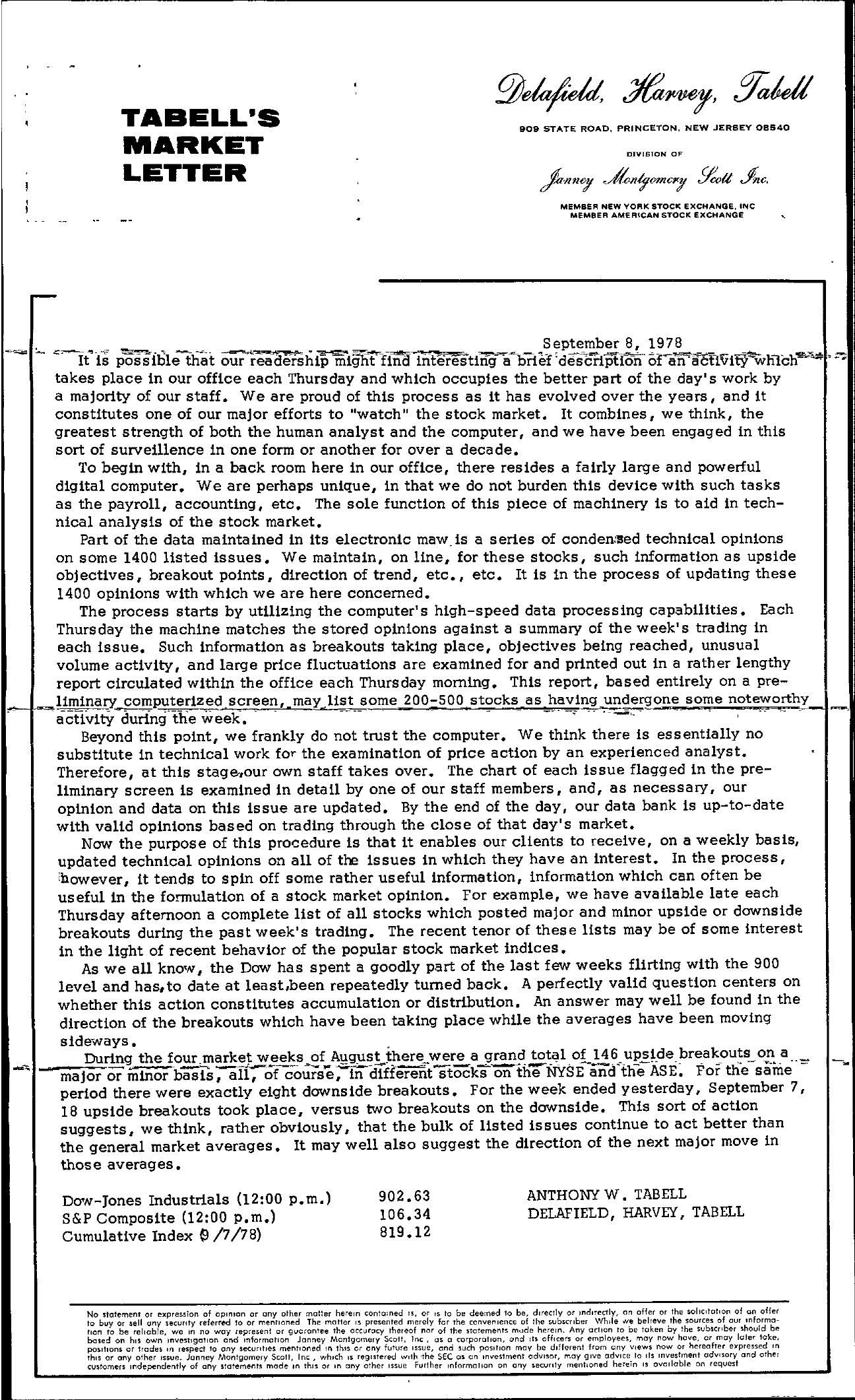 Tabell's Market Letter - September 08, 1978