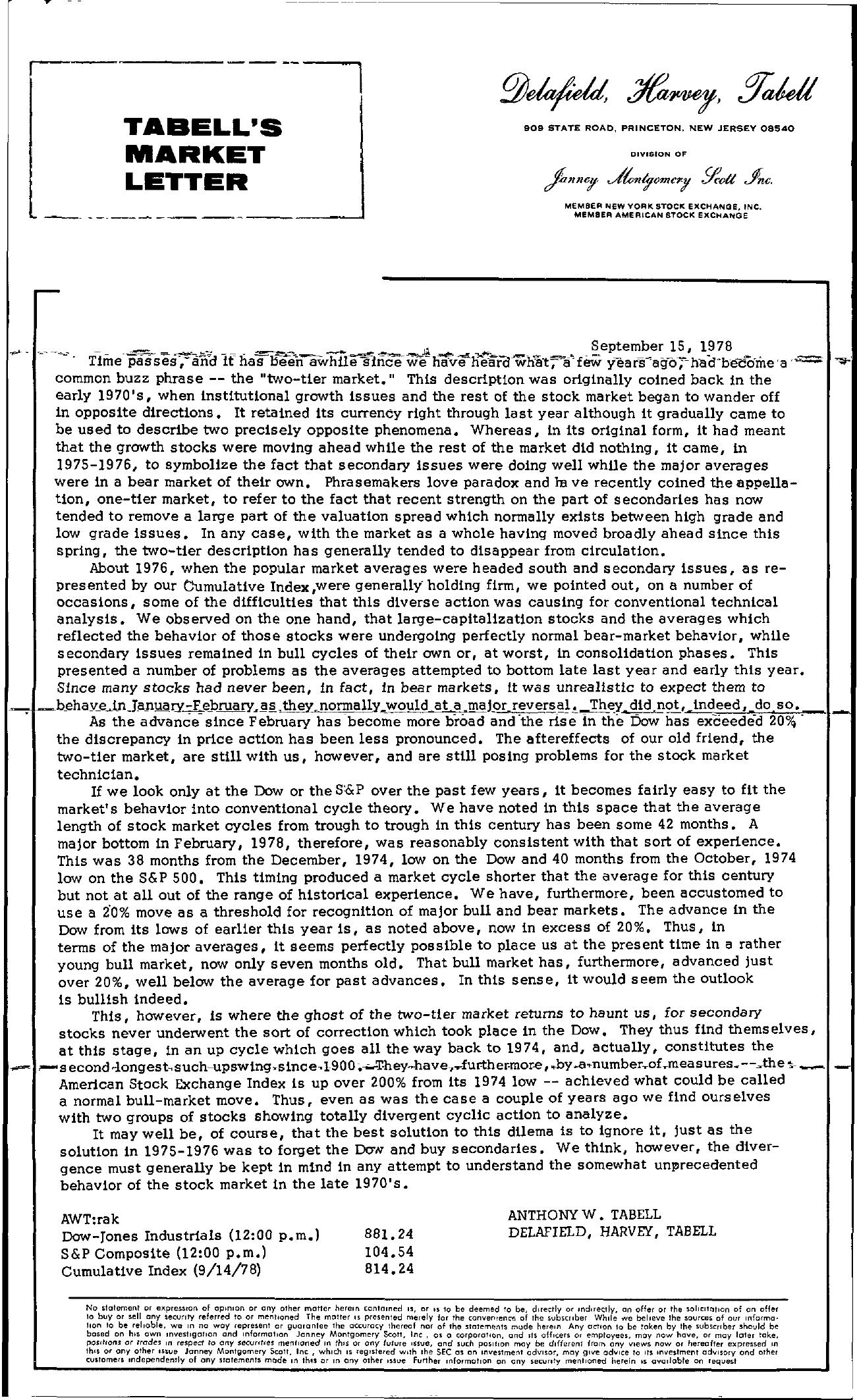 Tabell's Market Letter - September 15, 1978