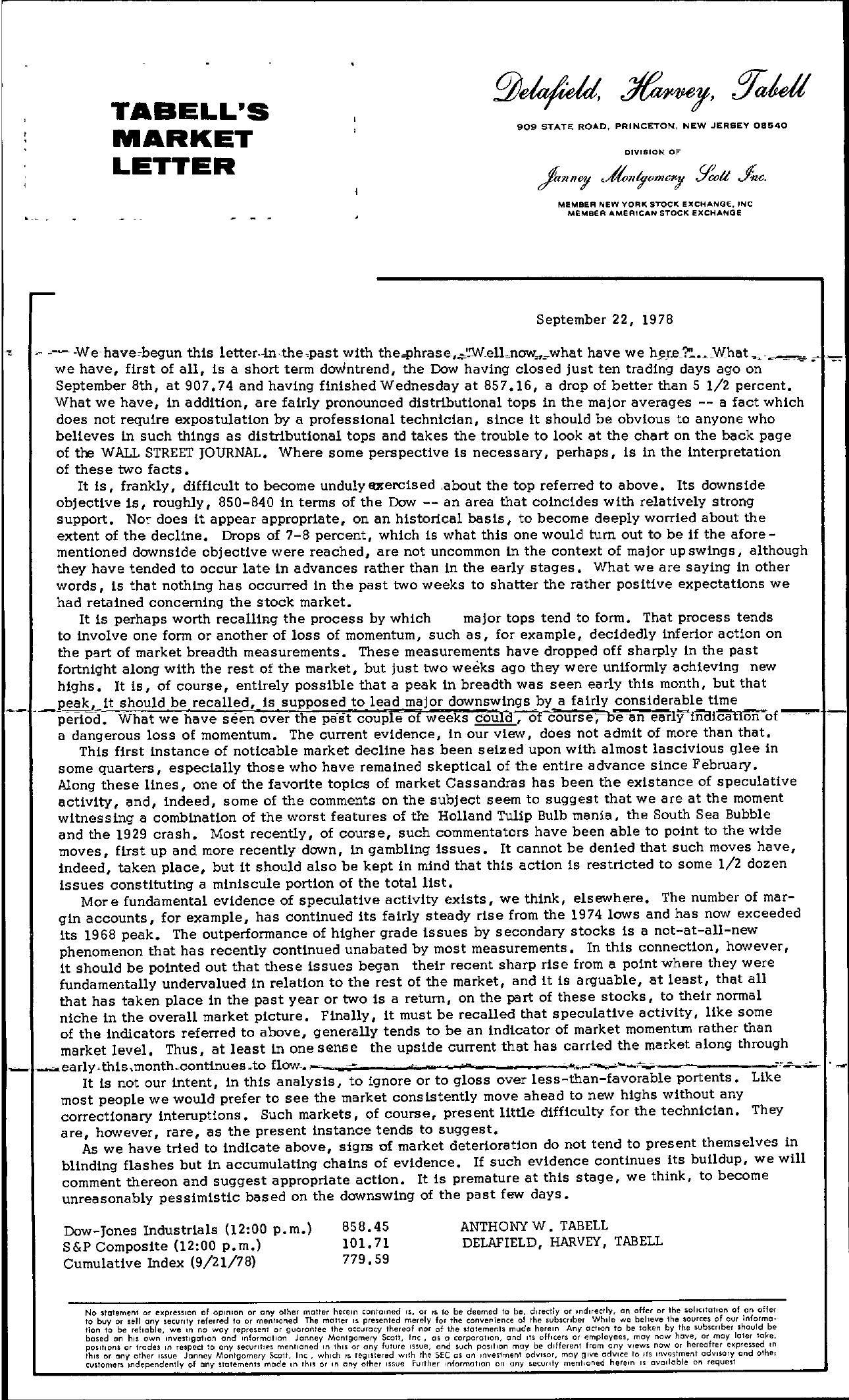 Tabell's Market Letter - September 22, 1978