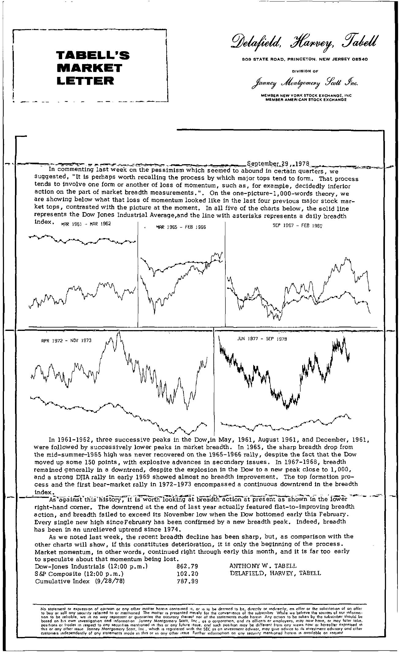 Tabell's Market Letter - September 29, 1978