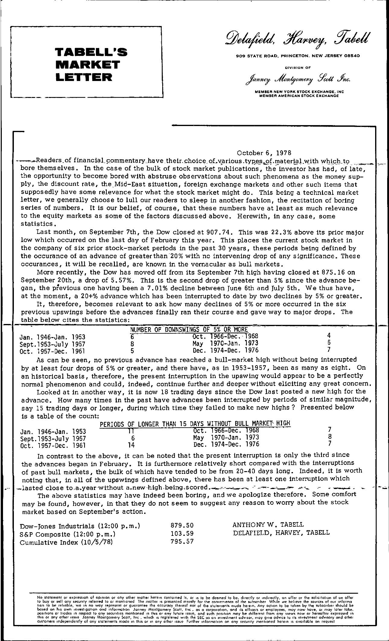 Tabell's Market Letter - October 06, 1978