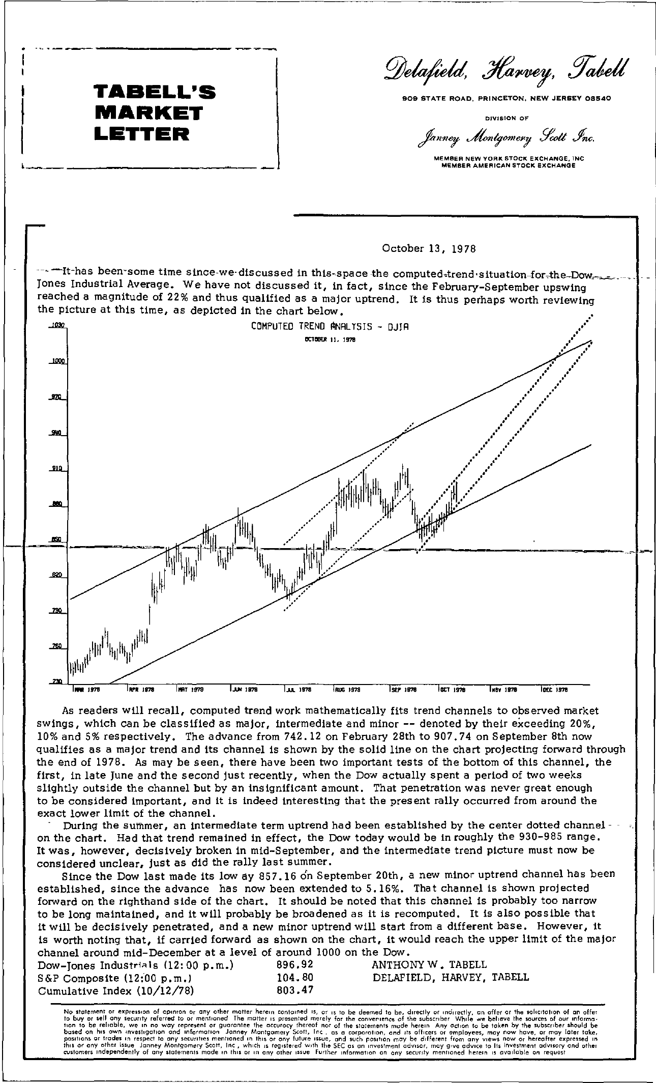 Tabell's Market Letter - October 13, 1978