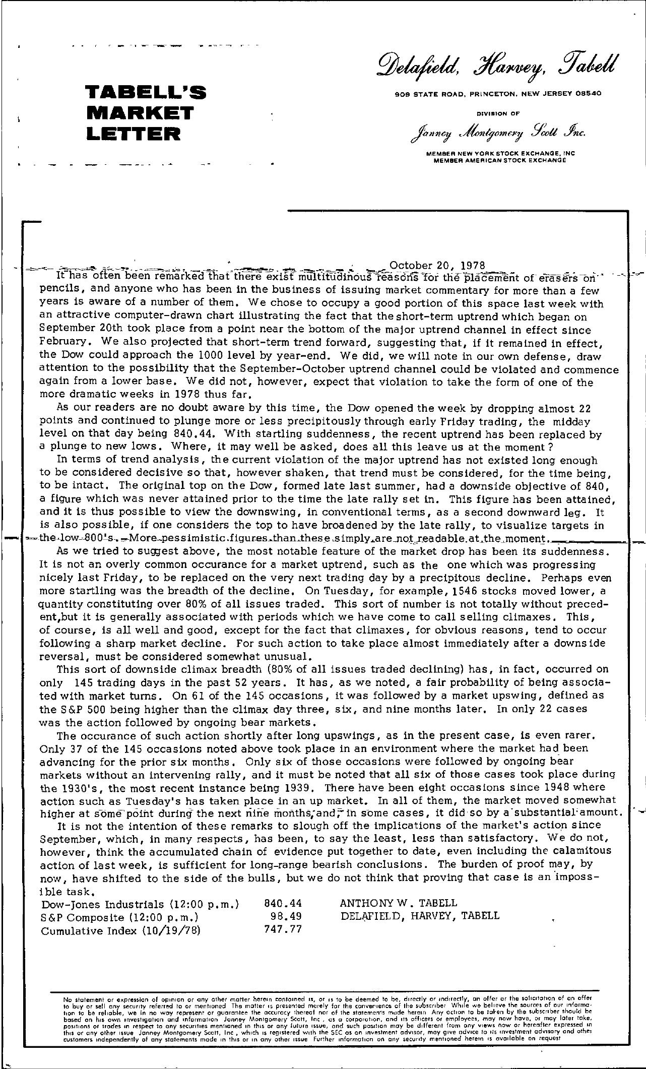 Tabell's Market Letter - October 20, 1978