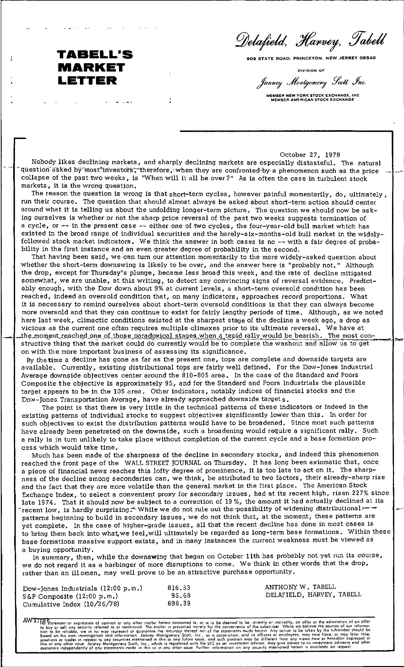 Tabell's Market Letter - October 27, 1978