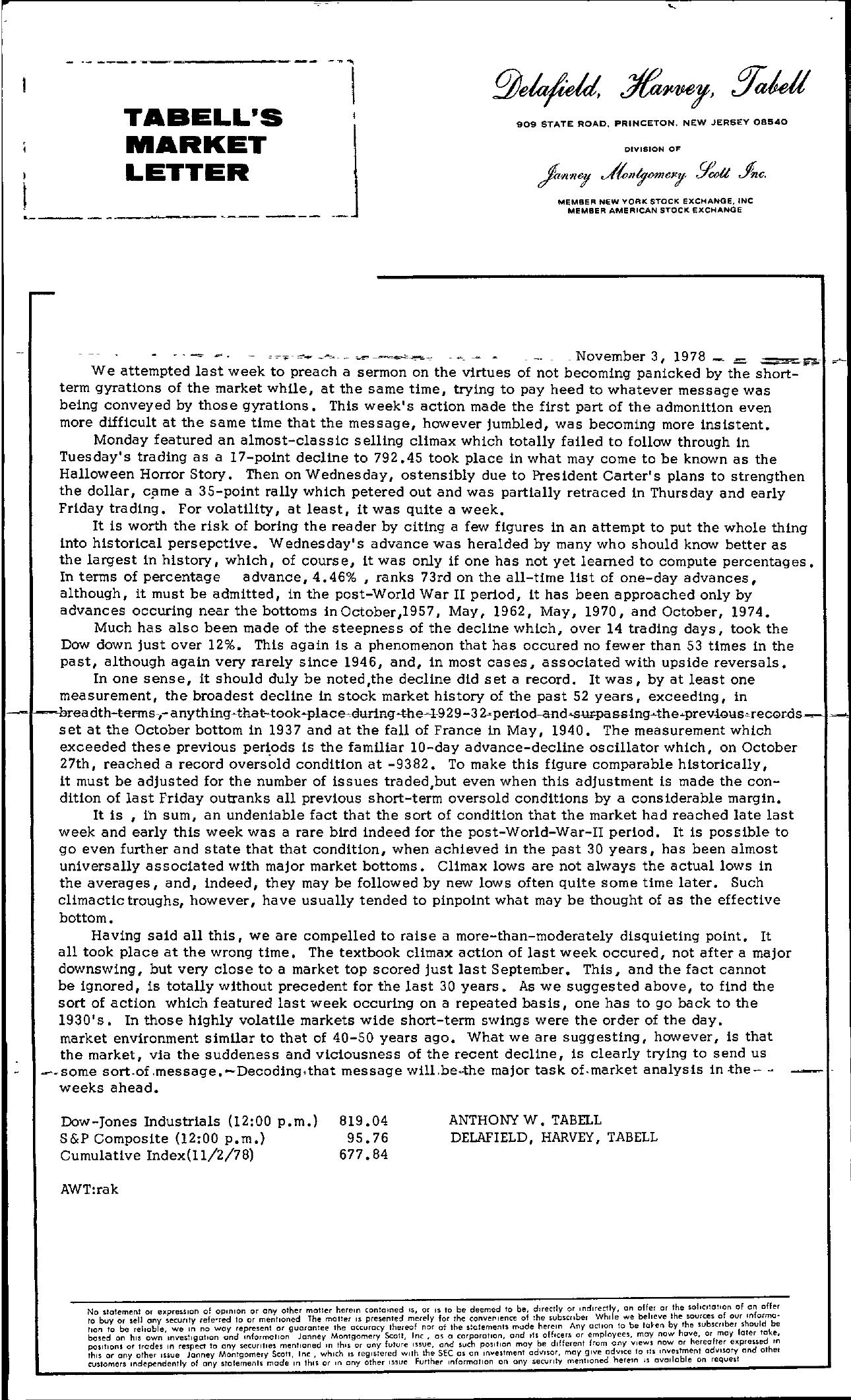 Tabell's Market Letter - November 03, 1978