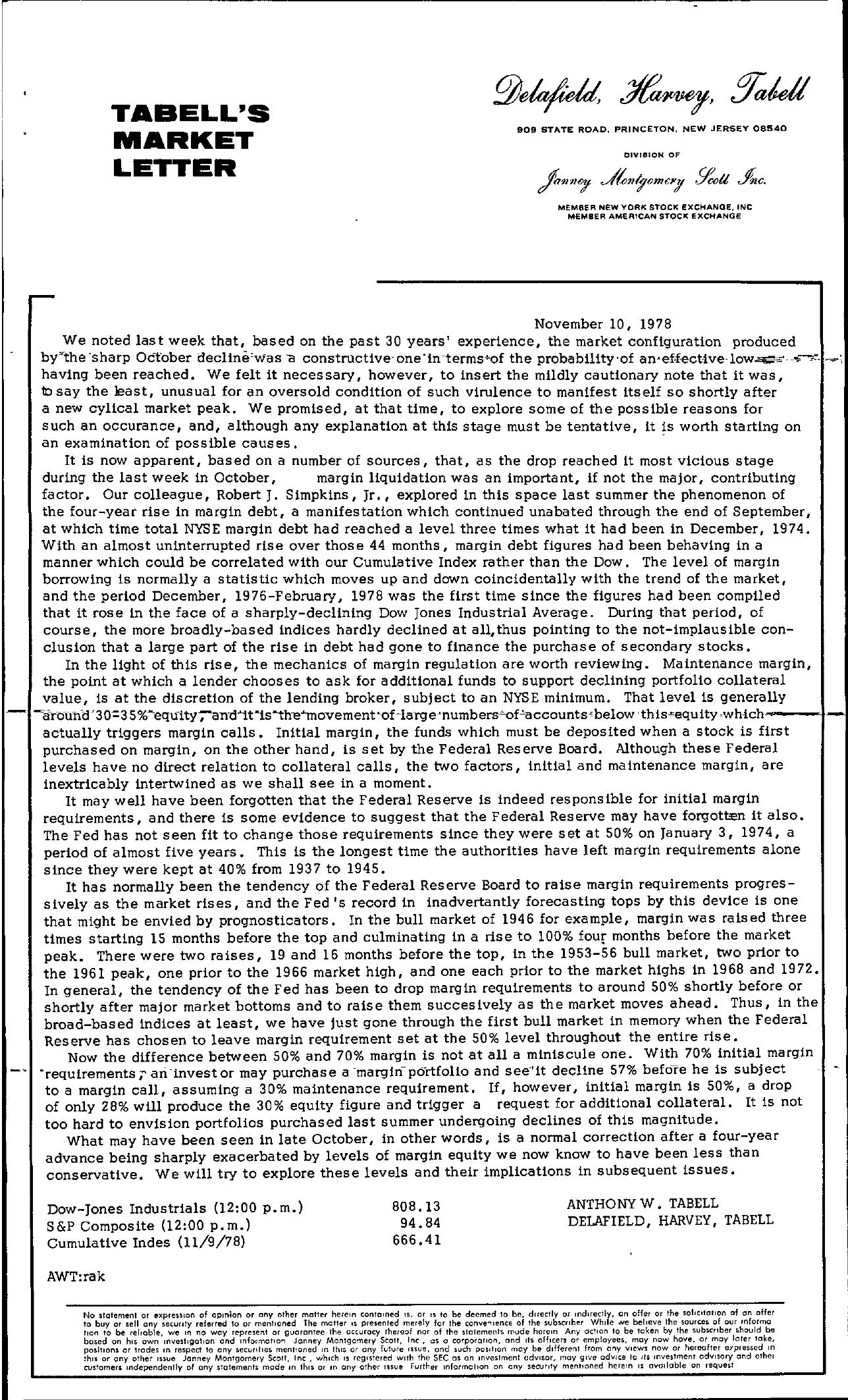 Tabell's Market Letter - November 10, 1978